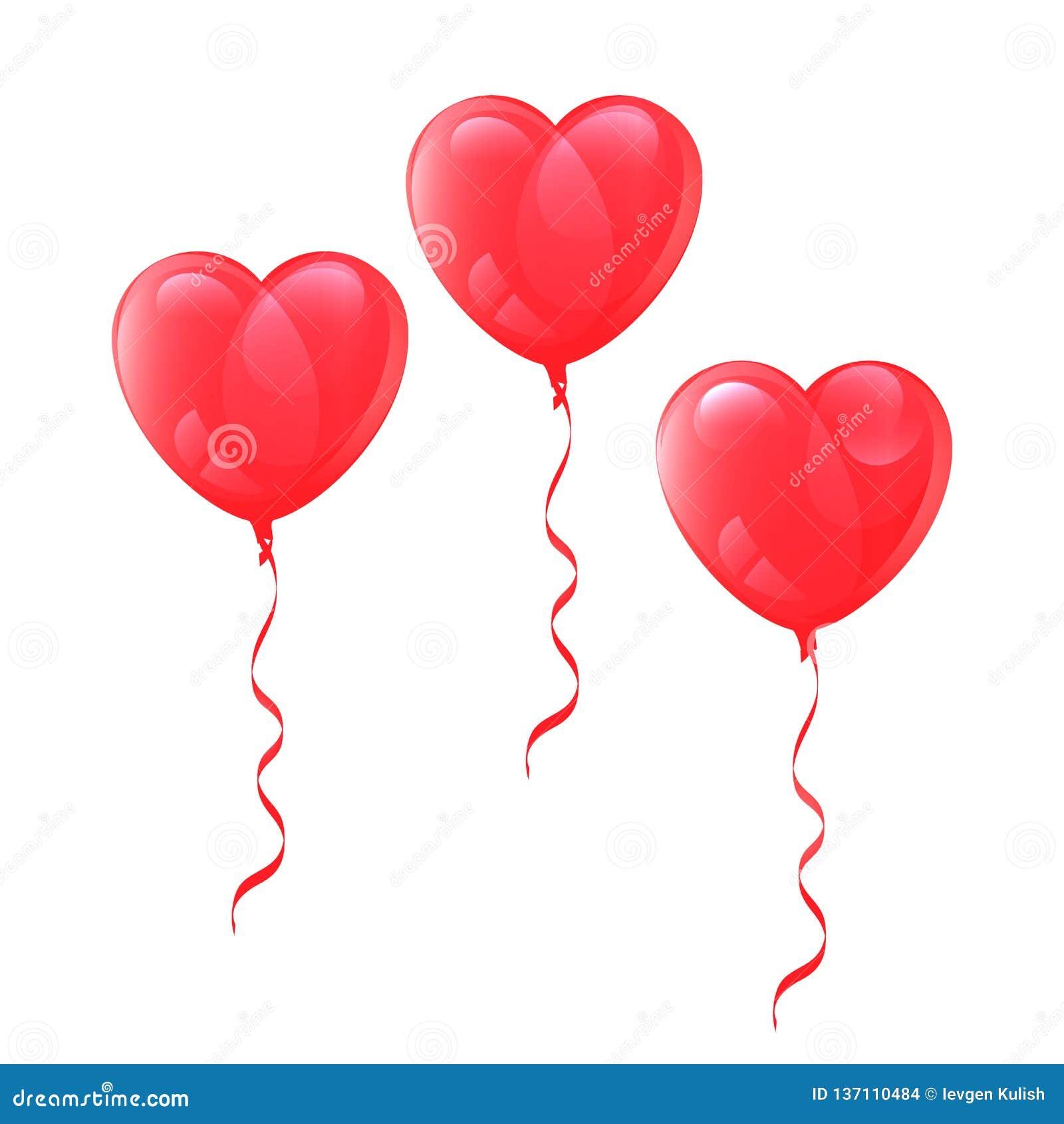 Globos de dibujo del vector en forma de corazón en el fondo blanco