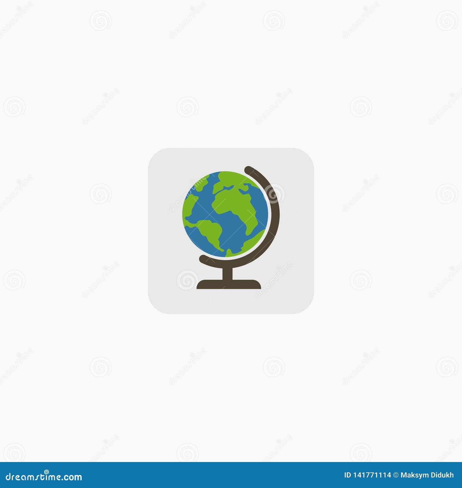 Globos de la tierra aislados en el fondo blanco Icono plano de la tierra del planeta Ilustración del vector EPS 10