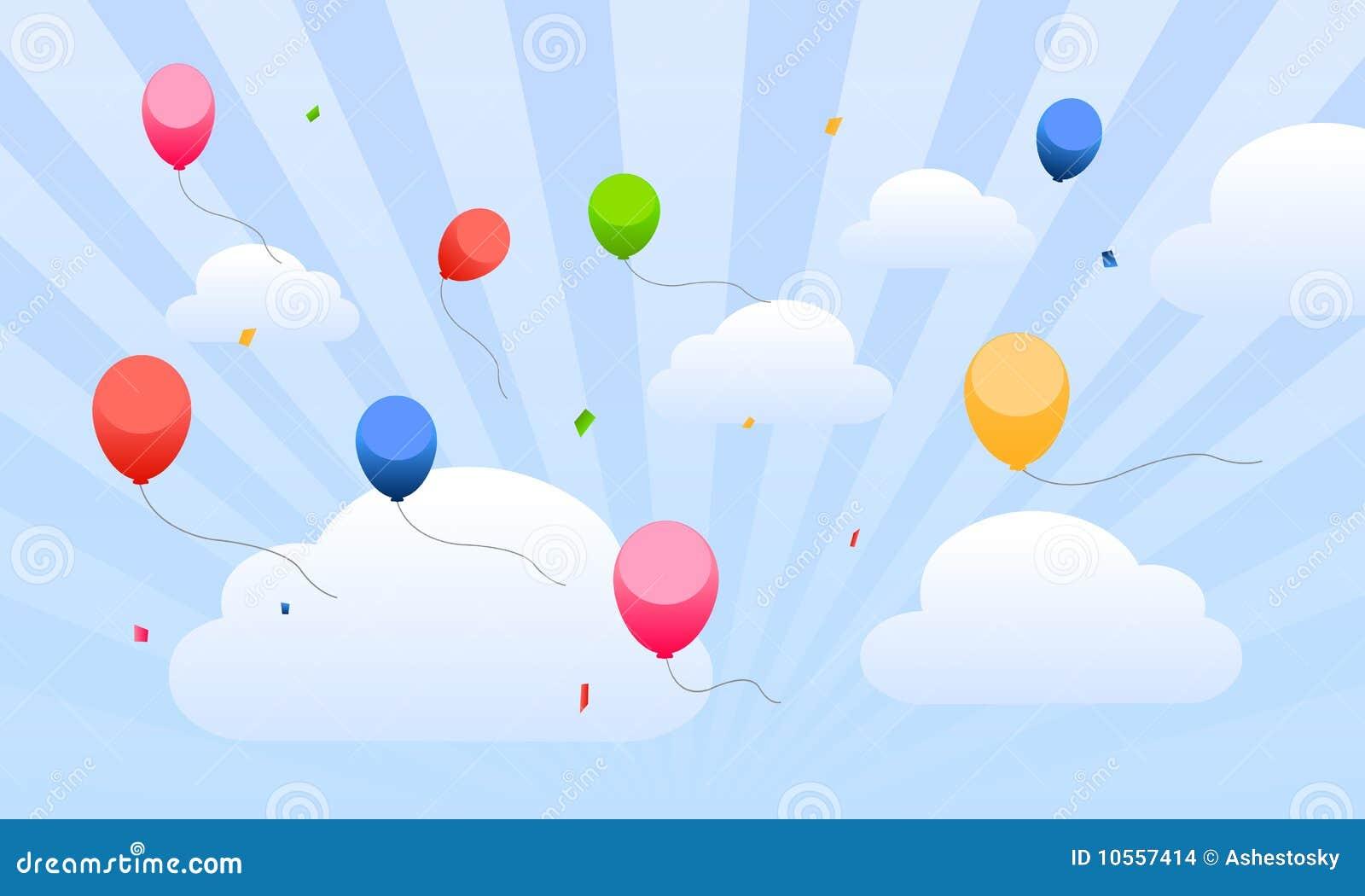 Globos del vuelo en el cielo para los cabritos