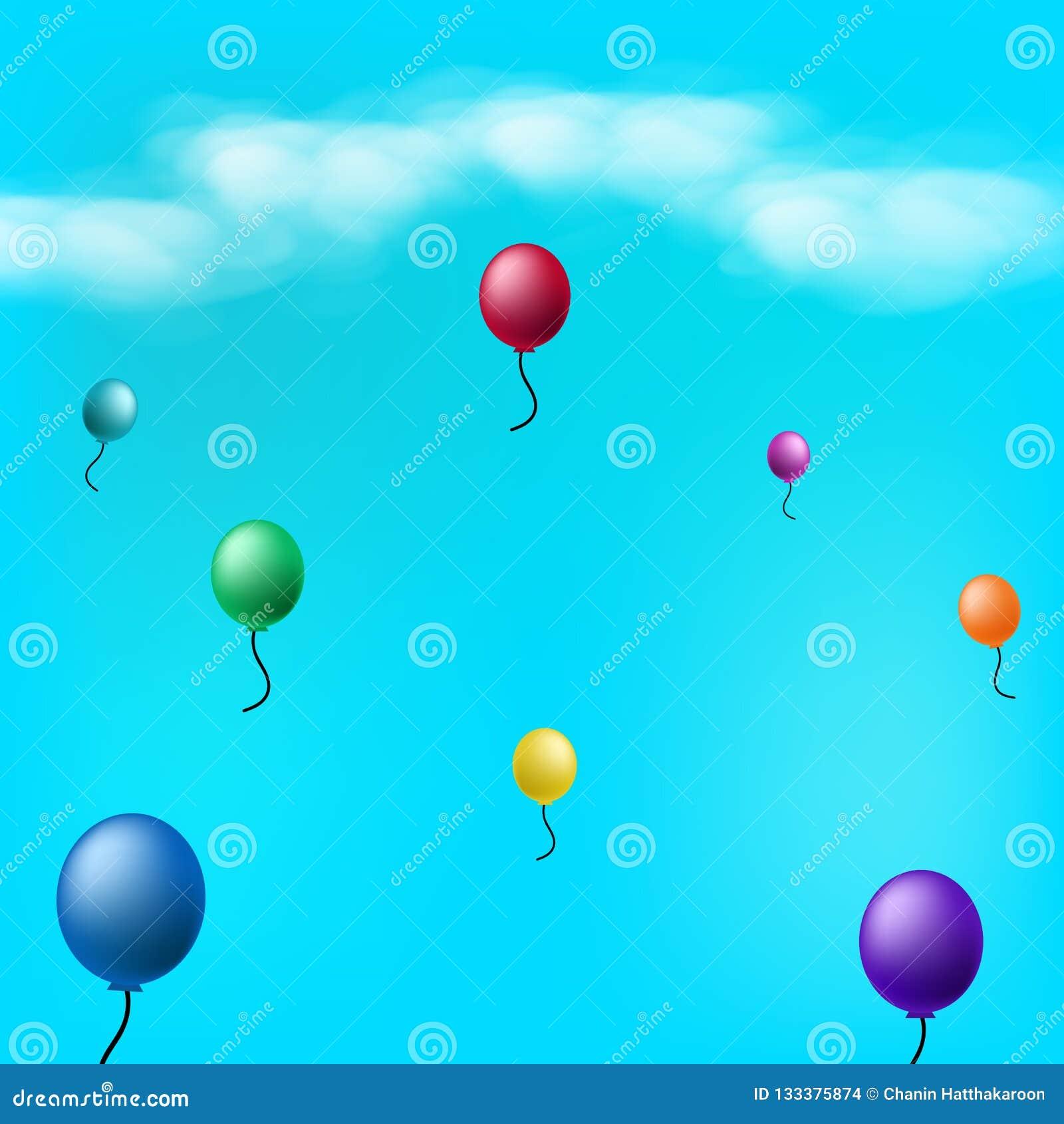 Globos en el cielo con illus abstracto del vector del fondo de las nubes