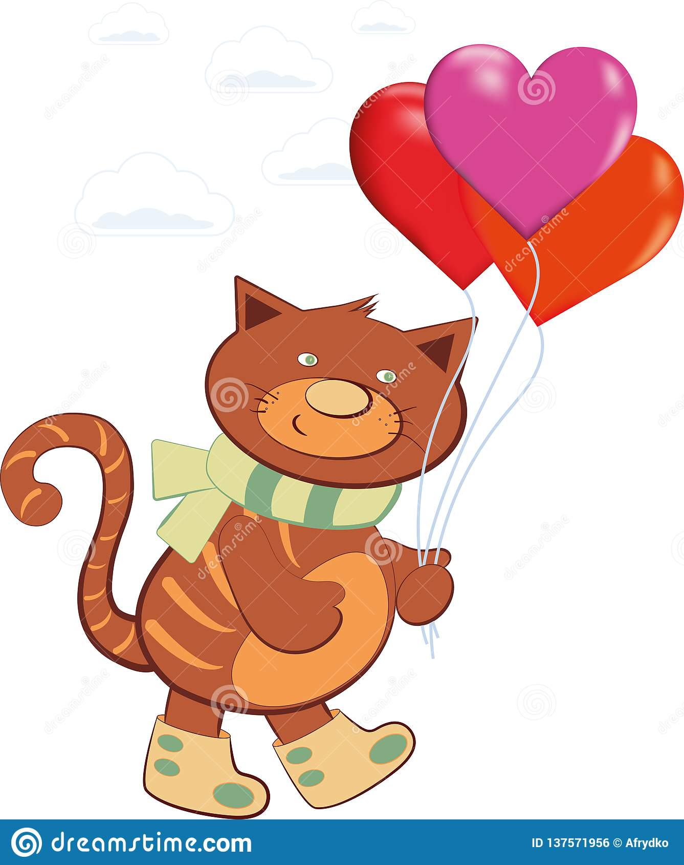 Globos que llevan del gato alegre en la forma de un corazón