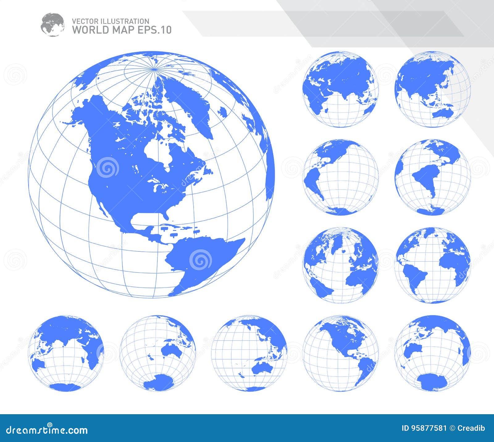 Globos que muestran la tierra con todos los continentes Vector del globo del mundo de Digitaces Vector punteado del mapa del mund