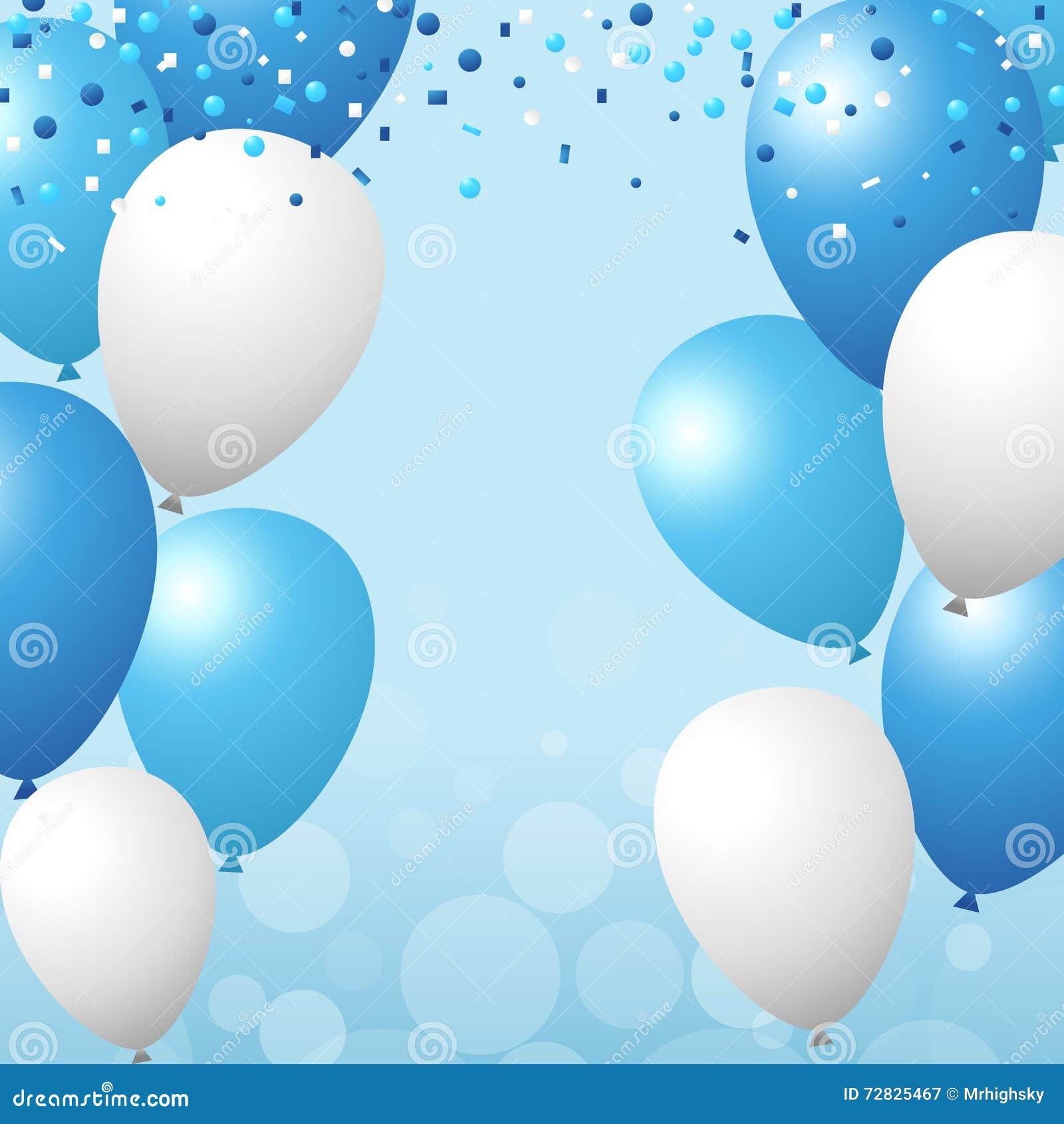 Hacer Un Plano Online Globos Y Fondo Azules Y Blancos Del Confeti Ilustraci 243 N