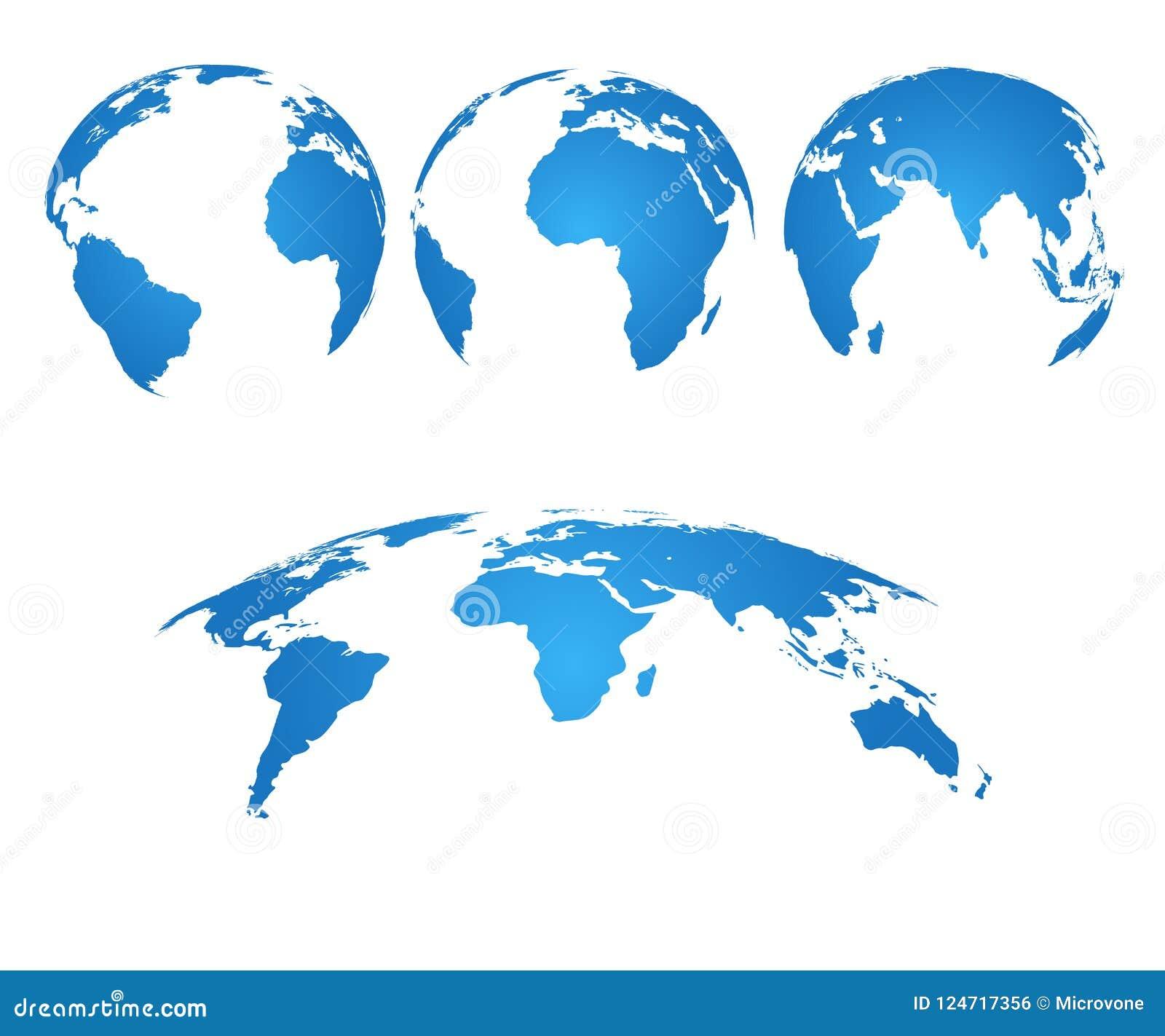 - globus ziemi 3d światowa mapa z sylwetka oceanami i kontynentami Wektor odizolowywający set