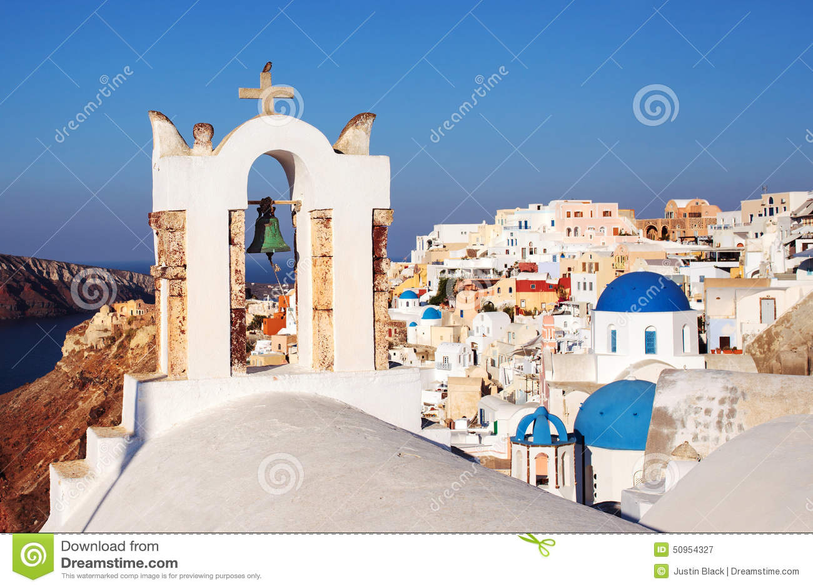 Glockenturm Oia-Dorf Santorini, Griechenland