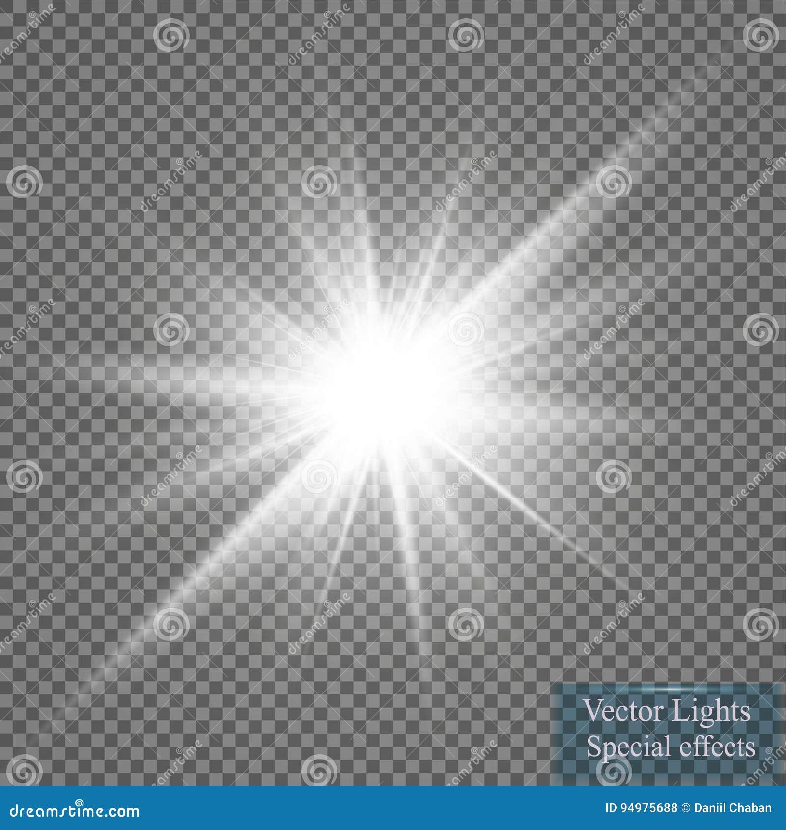 Gloed lichteffect Starburst met fonkelingen op transparante achtergrond Vector illustratie