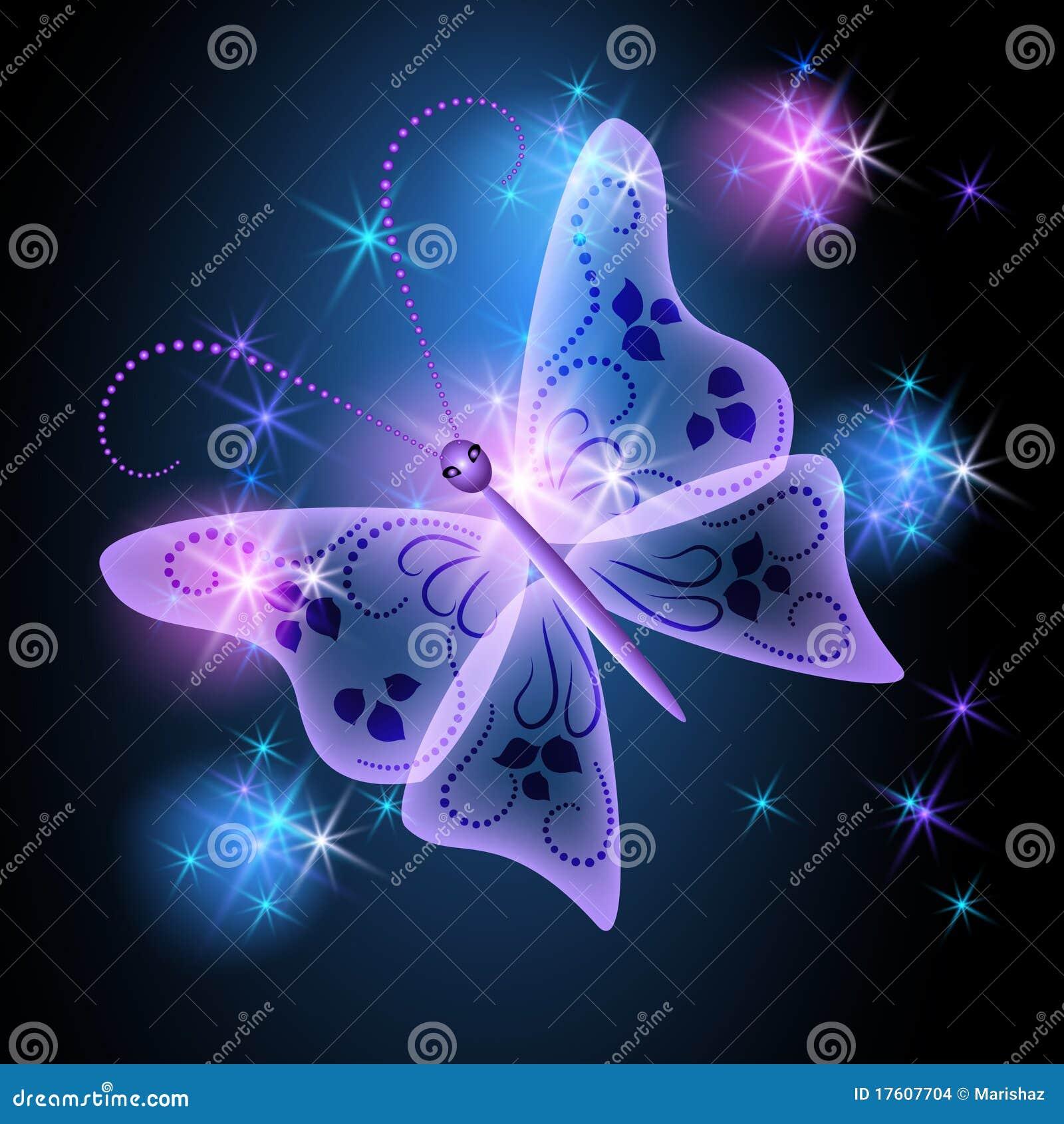 gloeiende achtergrond met vlinder 17607704 - Behang Met Sterren
