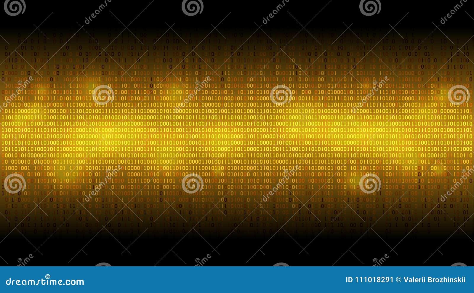 Gloeiende binaire code gouden abstracte achtergrond, gloeiende wolk van grote gegevens, stroom van informatie