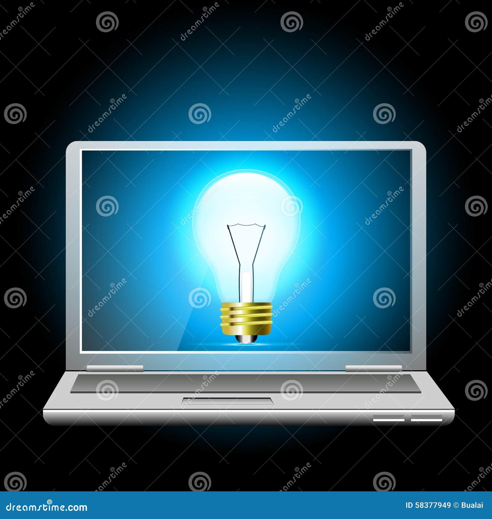 gloeiende blauwe gloeilamp op laptop het scherm bol licht idee vector illustratie afbeelding. Black Bedroom Furniture Sets. Home Design Ideas