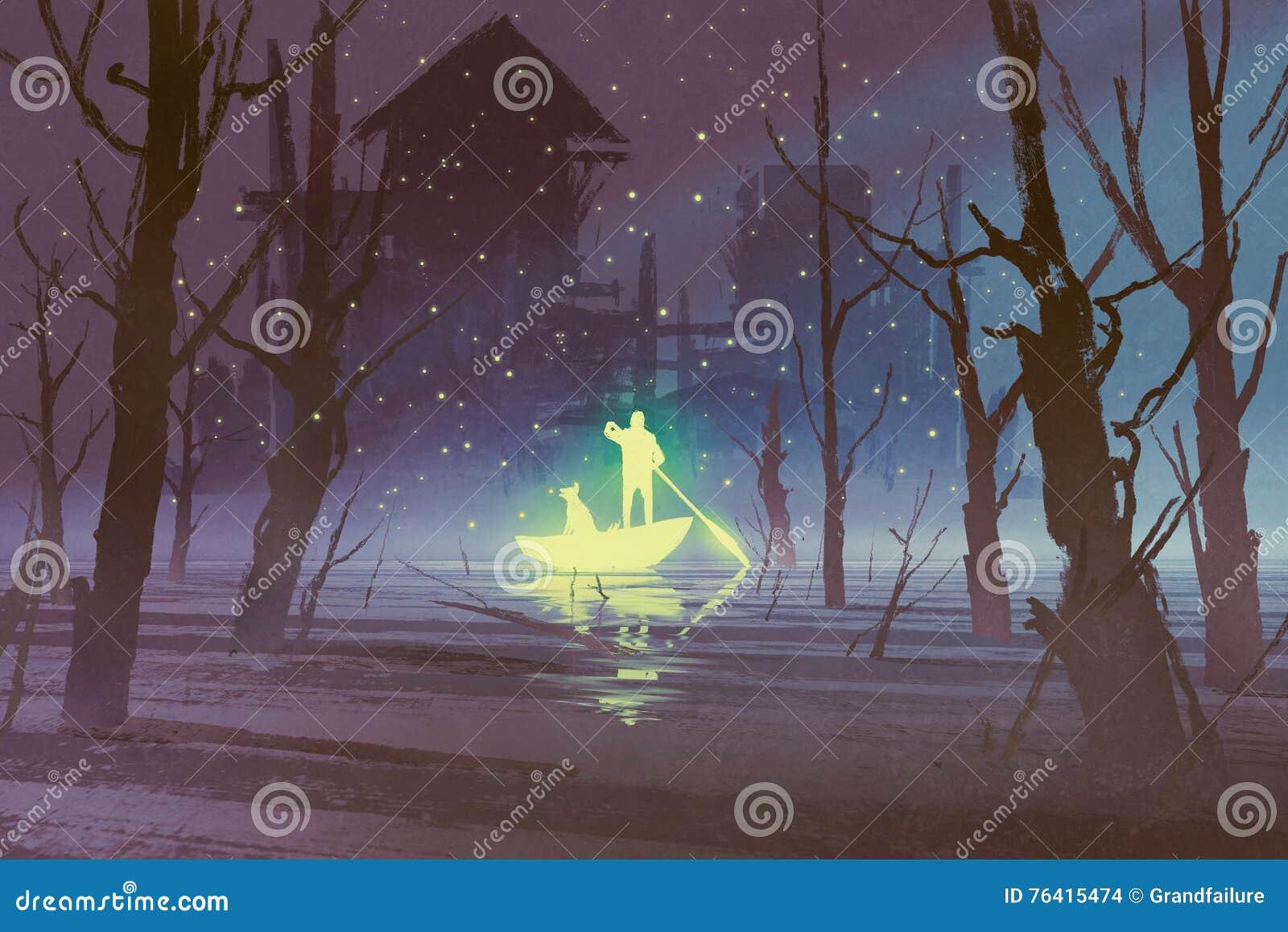 Gloeiende mens en hond het roeien boot in rivier