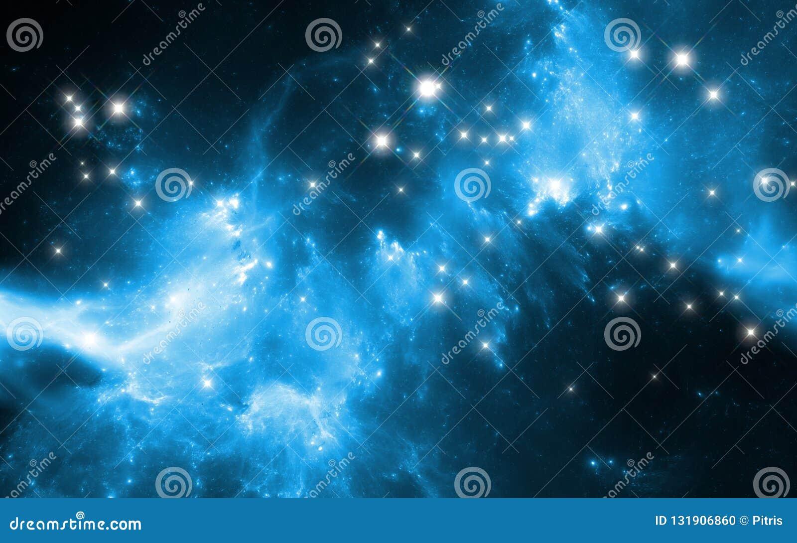 Gloeiende nevel in diepe ruimte Reuze interstellaire wolk met sterren