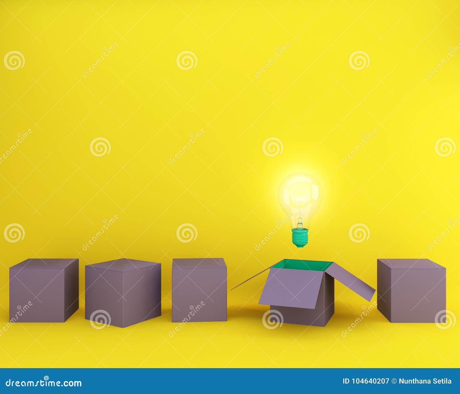 Download Gloeilampen Het Gloeien Denkt Het Creatieve Idee Buiten De Minimale Doos, Stock Illustratie - Illustratie bestaande uit creativiteit, vlak: 104640207