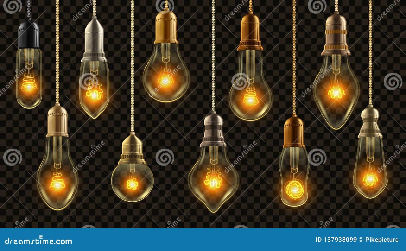 Gloeilampen Uitstekende Vastgestelde Vector Het gloeien glanst Lamp Transparante 3D Realistische Elektrische Retro Zolder of Stea