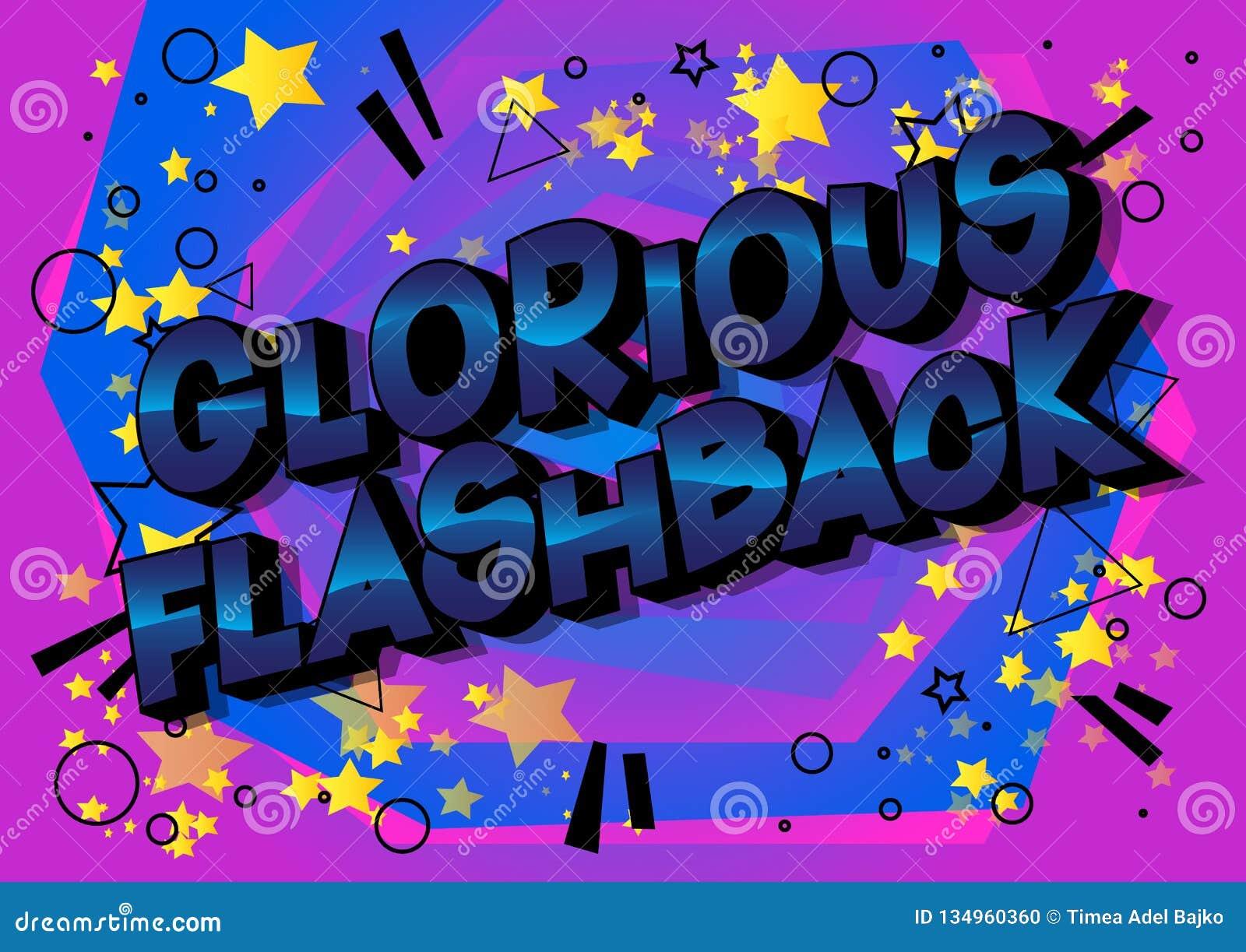 Glorierijke Flash-back - de Vector geïllustreerde grappige woorden van de boekstijl