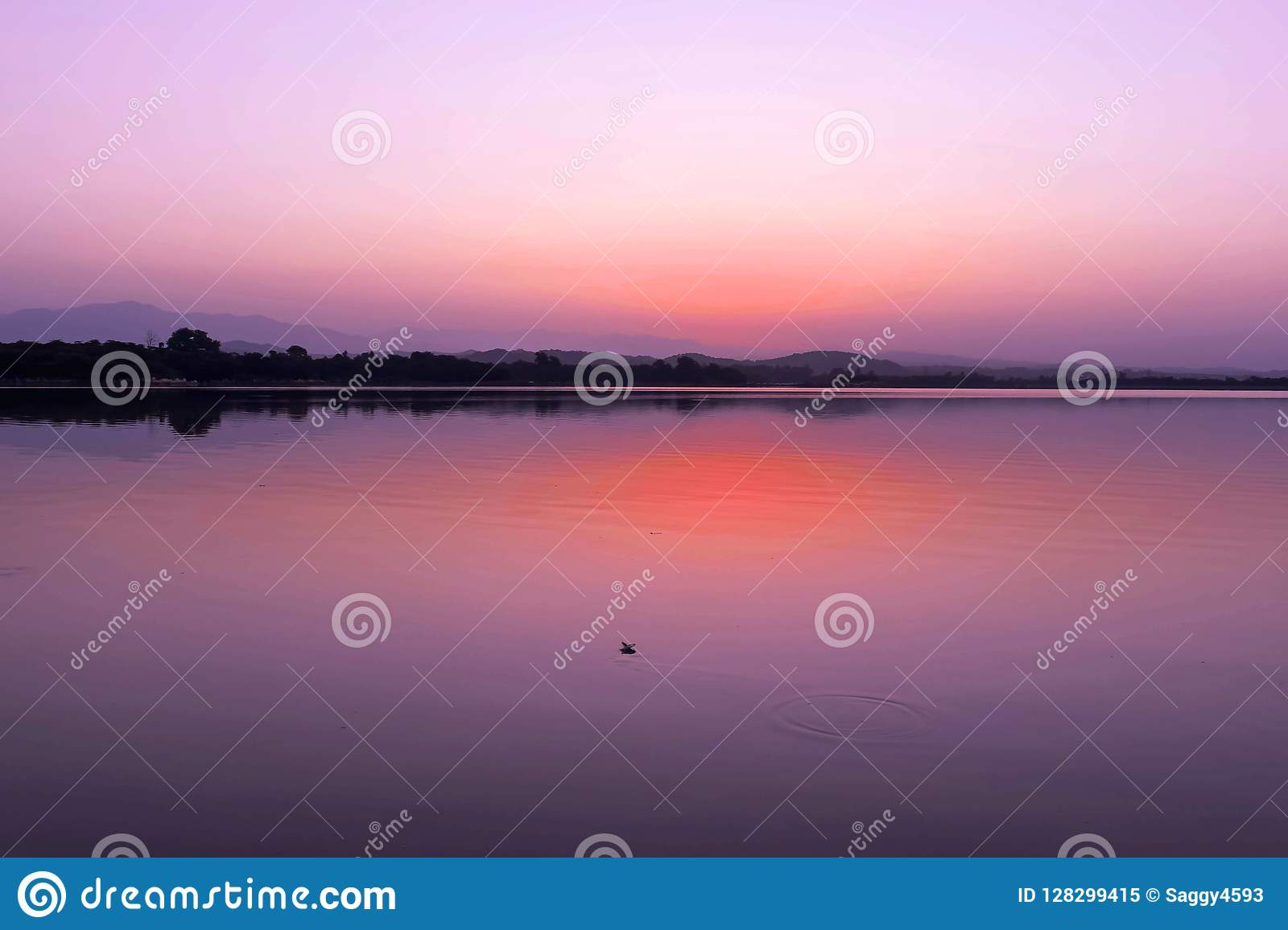 GLORIOUS VIEW OF LAKE BEFORE SUN RISE IN EARLY MORNING