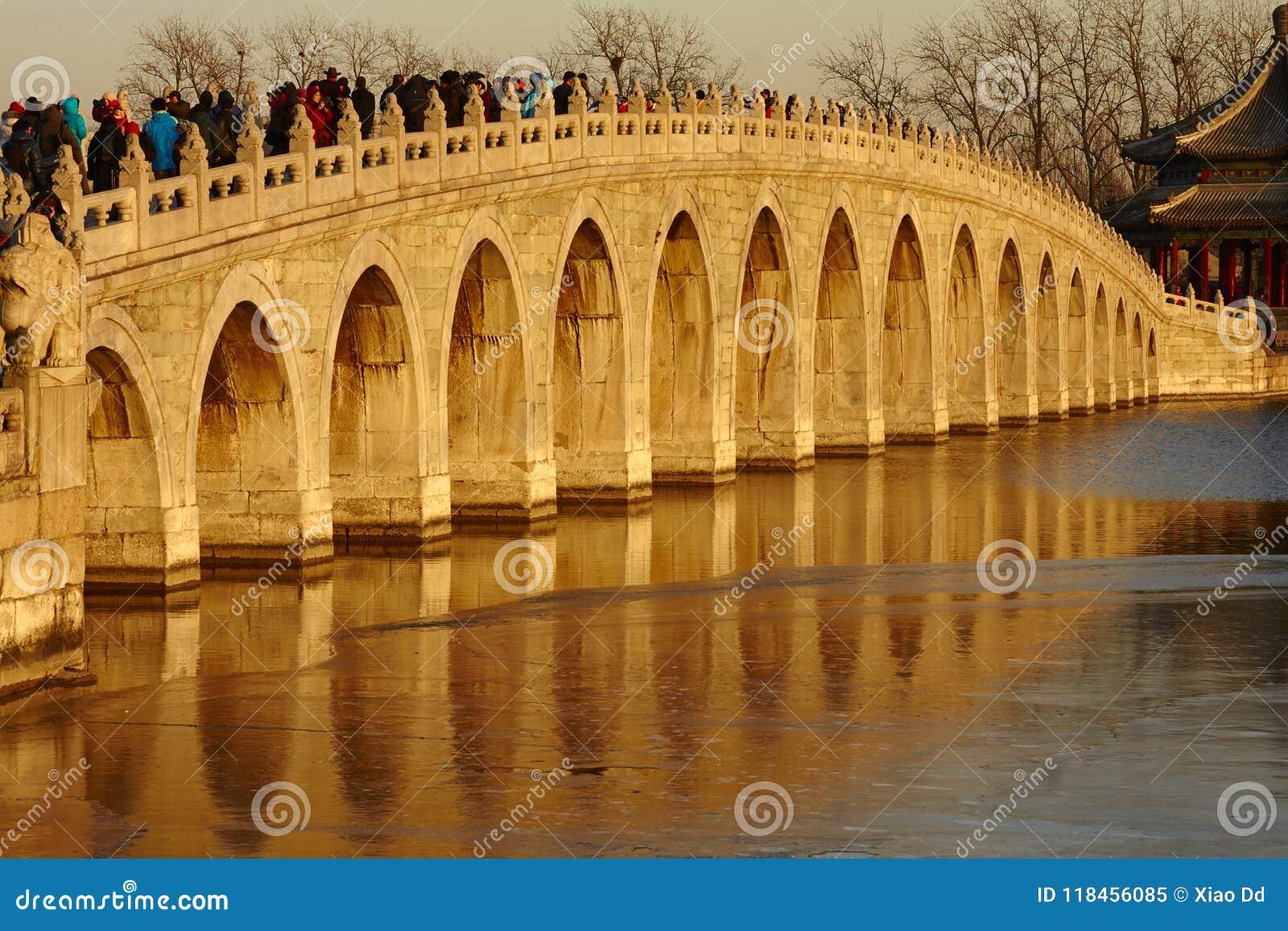 17 arch bridge sunset, China
