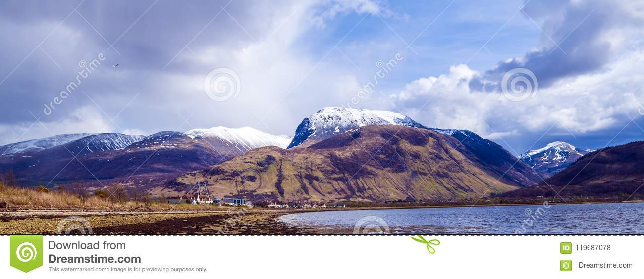View of the Ben Nevis Range at Fort William in the Highlands of Scotland