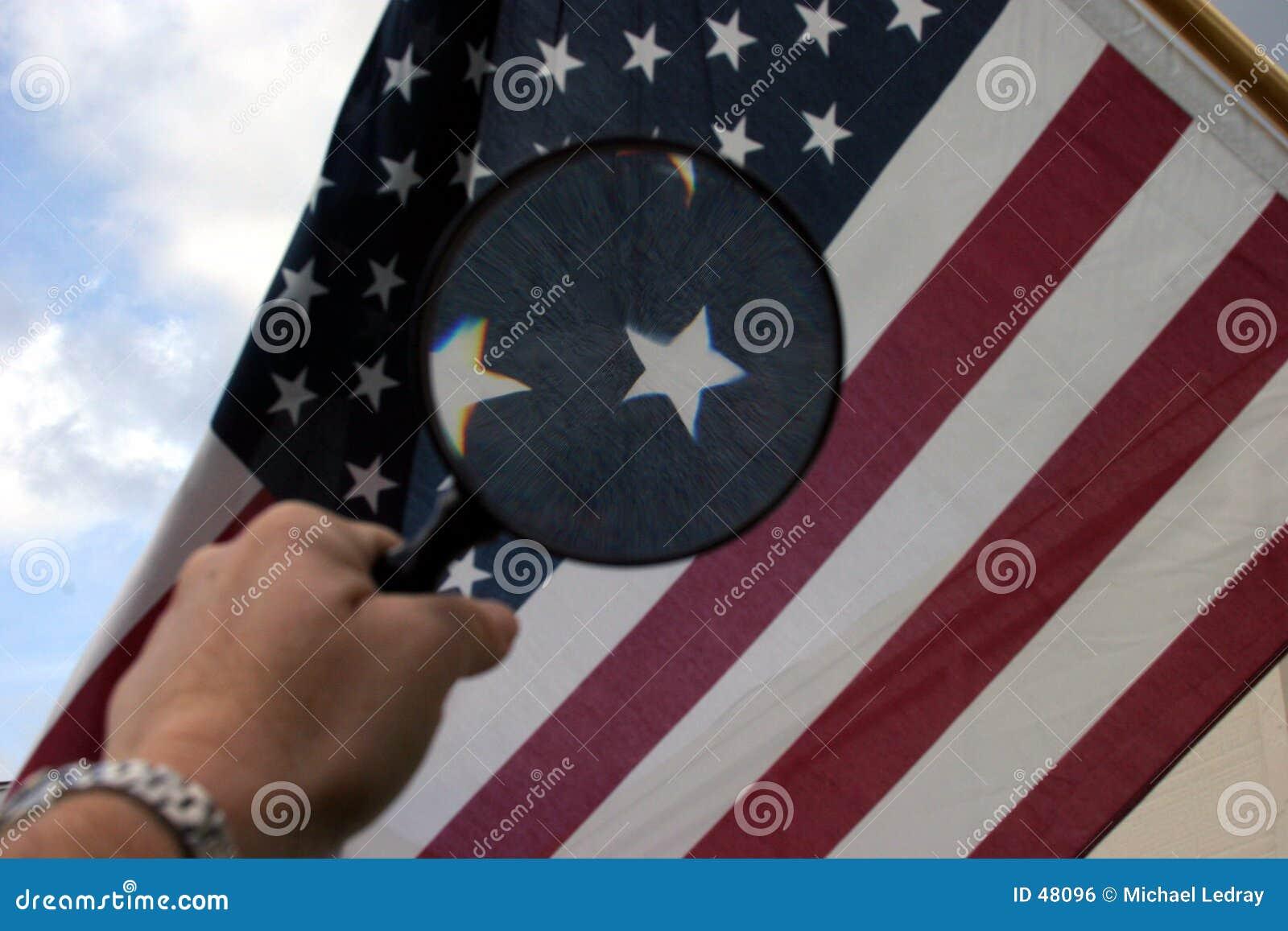 Glose американского флага вверх