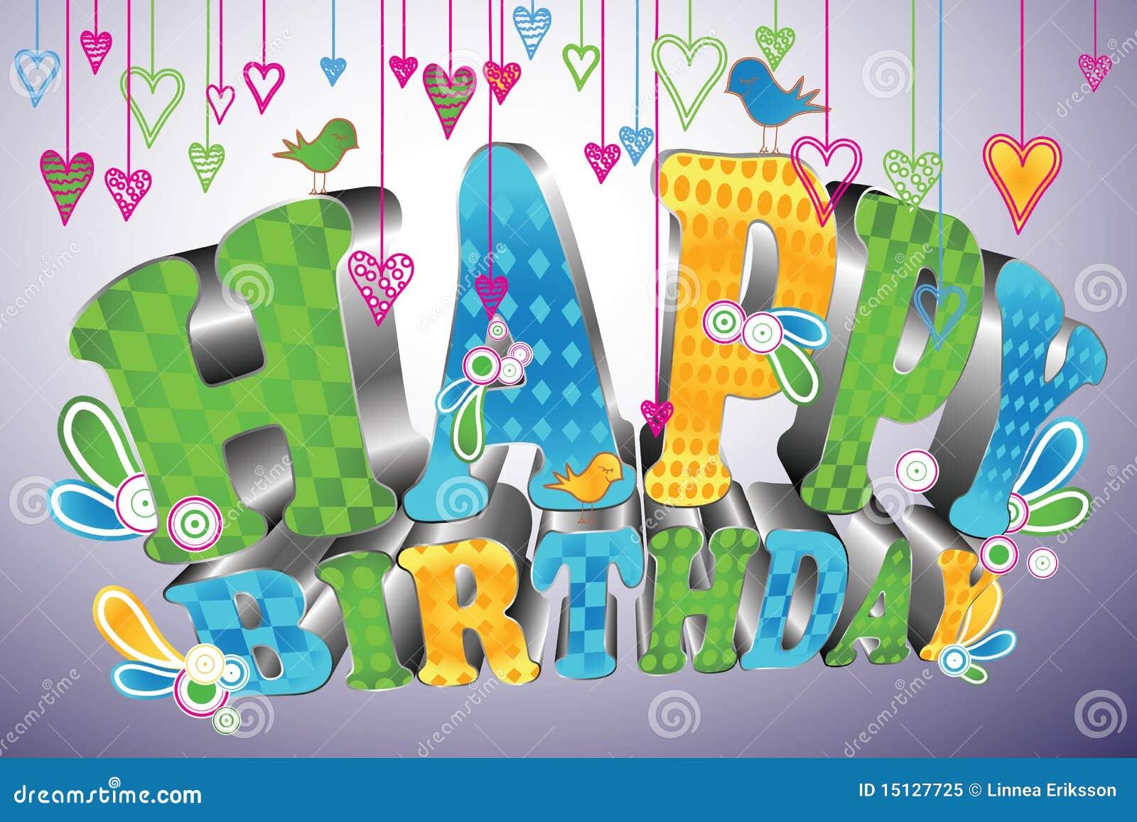 Glossy 3d Type: Happy Birthday Stock Vector
