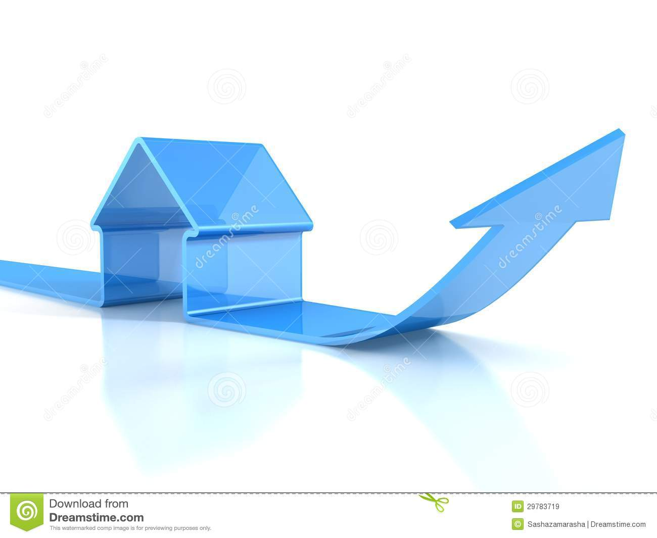 glossy blue house icon with rising arrow real estate