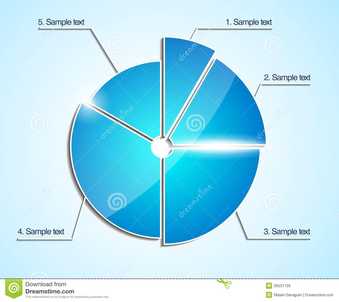 glossy business pie chart vector diagram stock vector