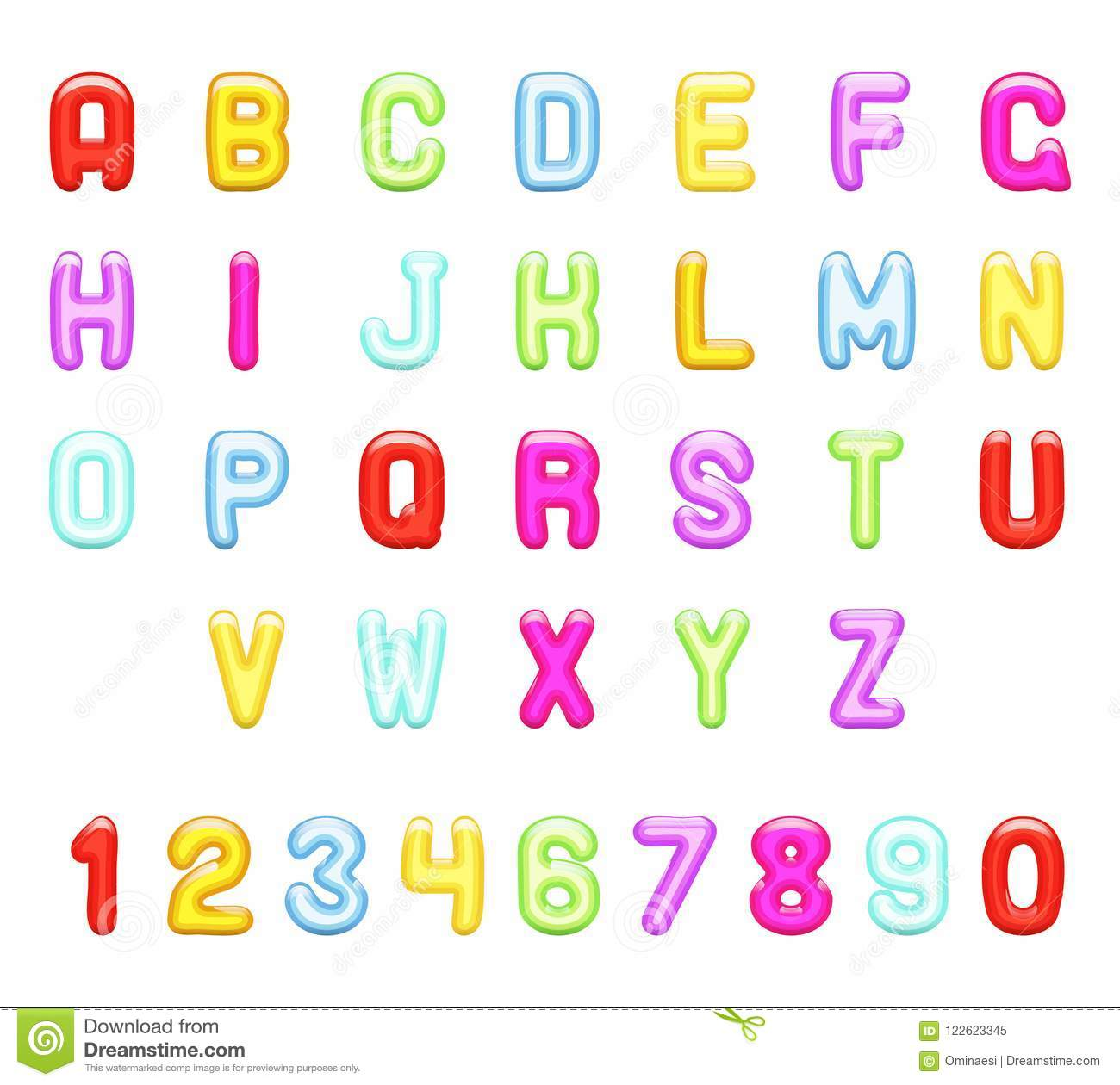 Glossy Children Party Jelly Abstract Fun Alphabet Letters A To Z