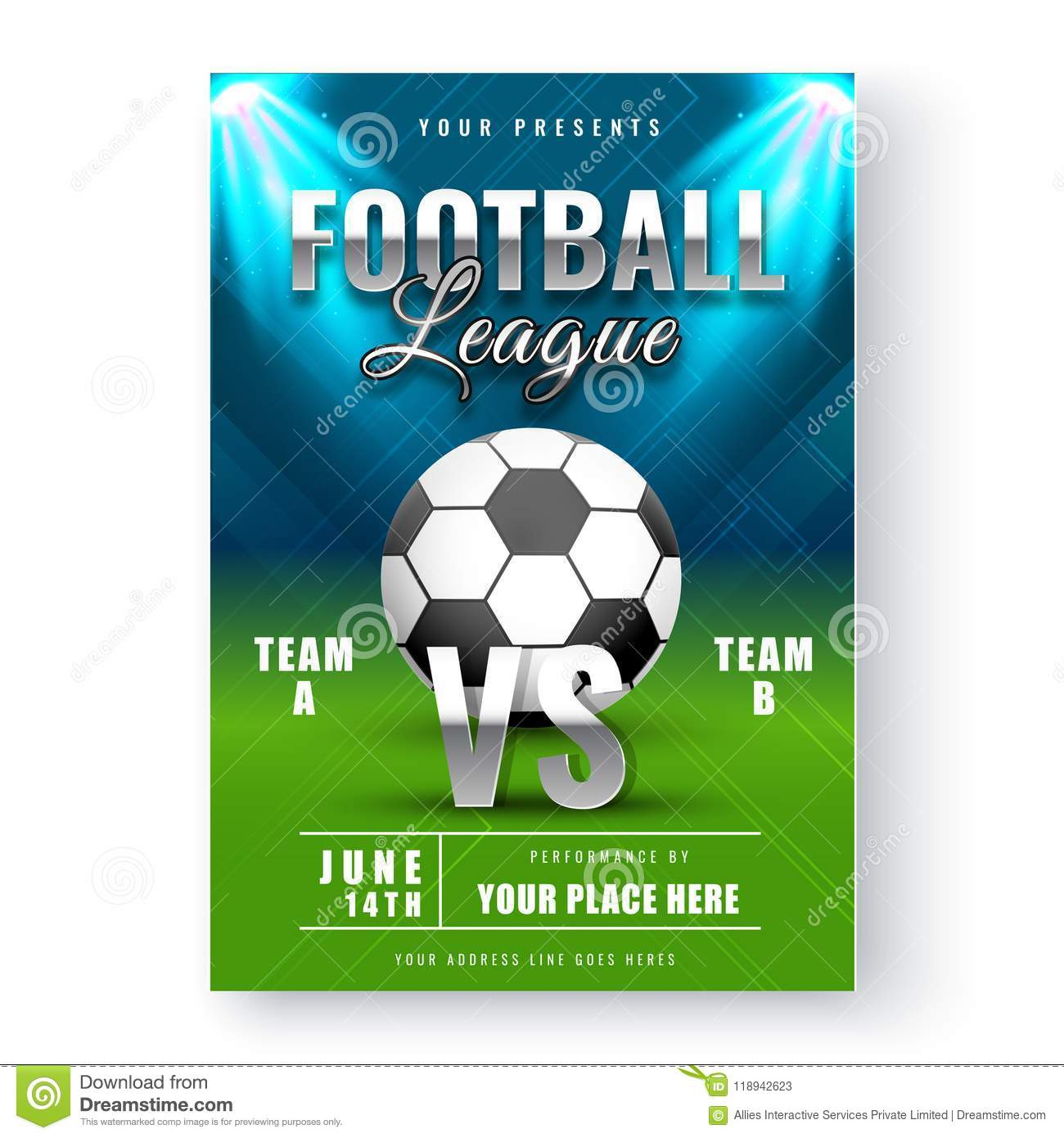 Glossy Football League Flyer Or Banner Designs With Match Detail