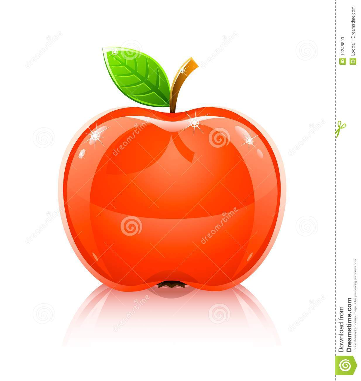 Apple fruit images download - Glossy Glass Red Apple Fruit With Leaf Stock Photos