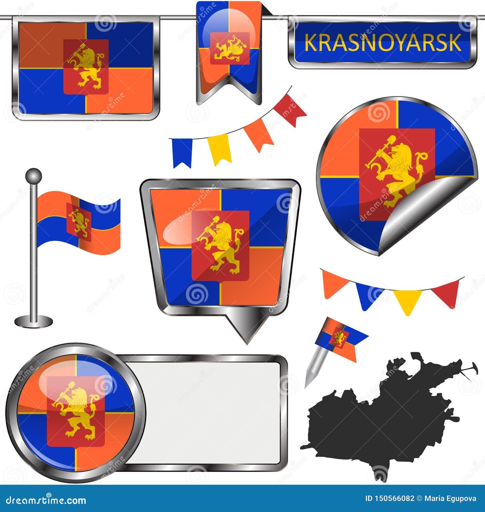 Glossy icons with flag of Krasnoyarsk