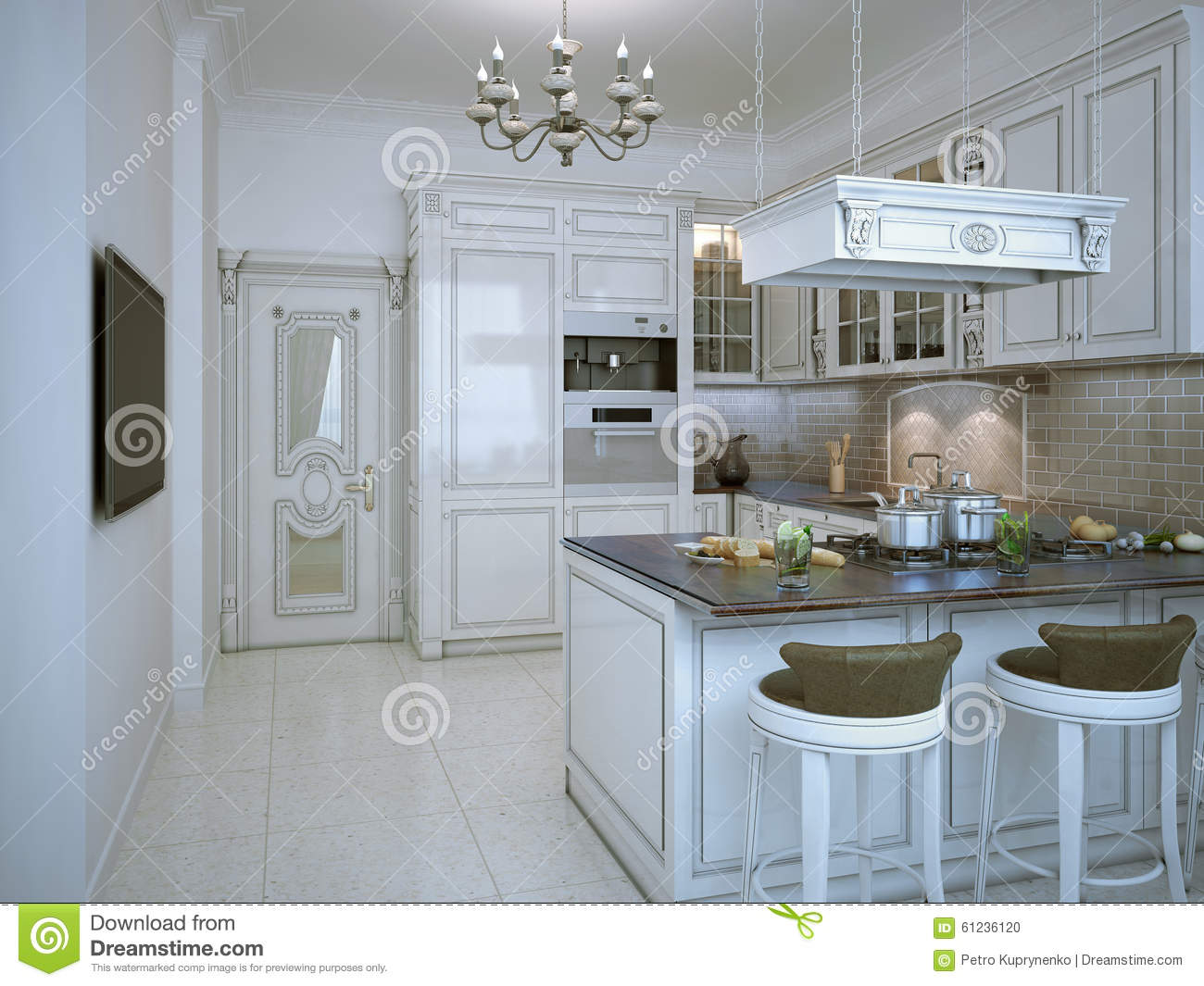 Glossy Kitchen Art Deco Style Stock Photo