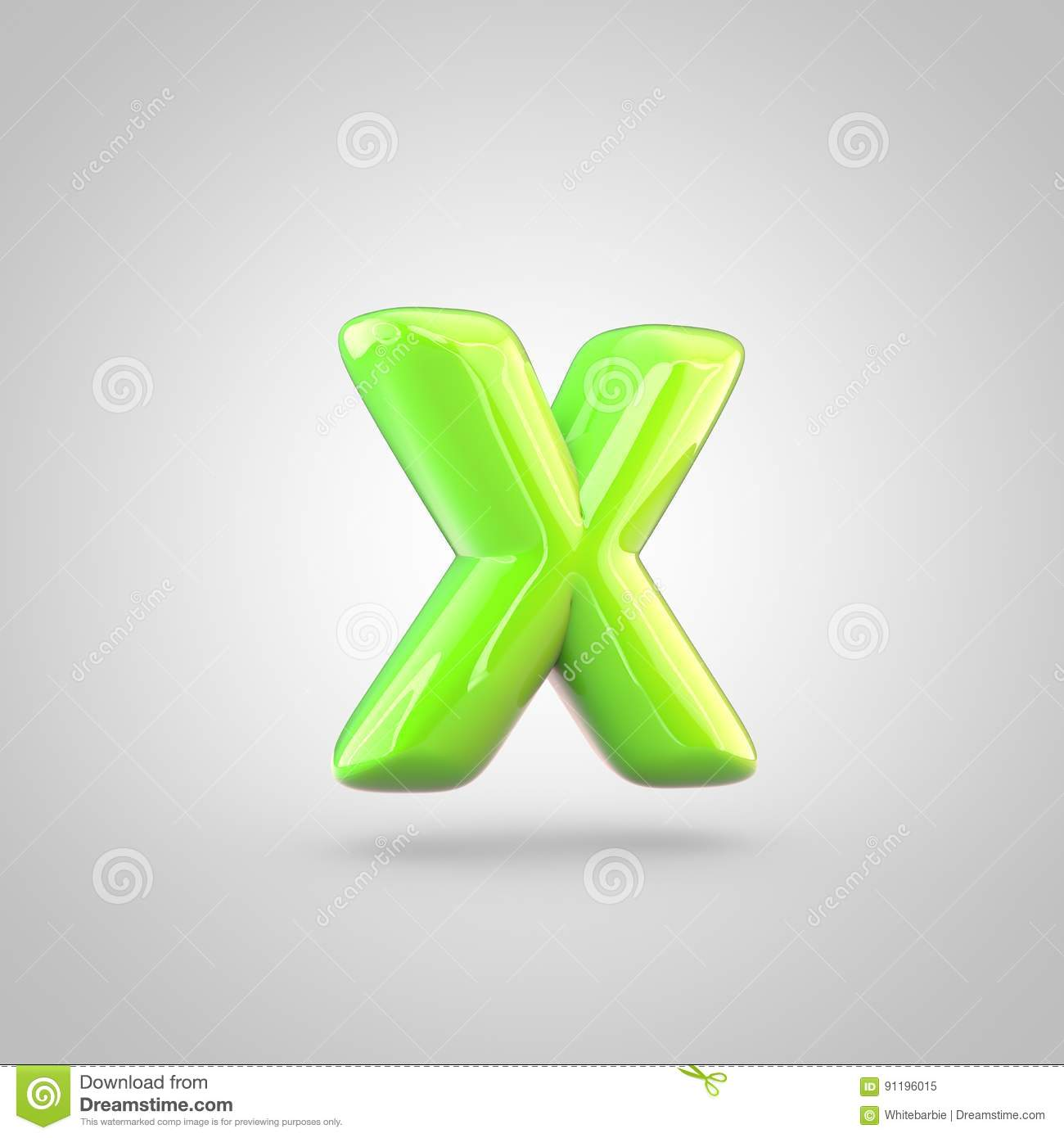 glossy lime paint alphabet letter x lowercase isolated on white background