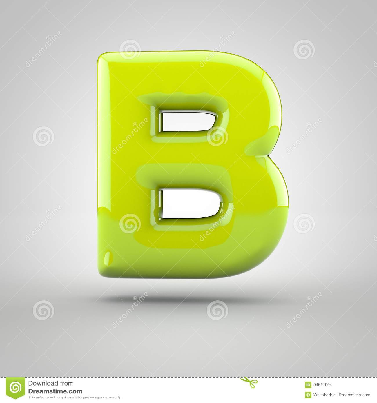 glossy lime paint letter b uppercase on white background