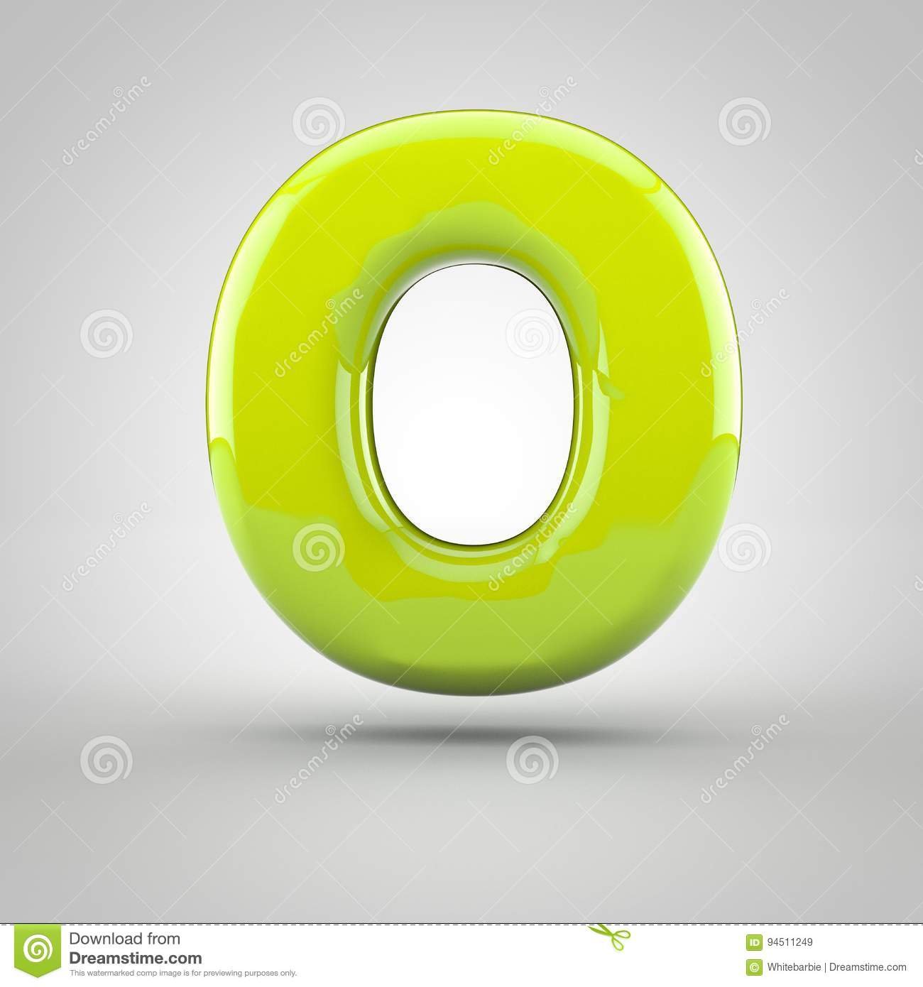 glossy lime paint letter o uppercase on white background