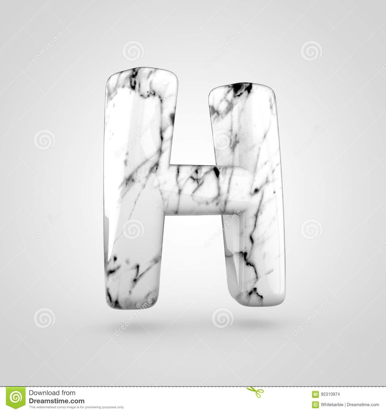 2893611cb6 Glossy marble alphabet letter H uppercase isolated on white background.