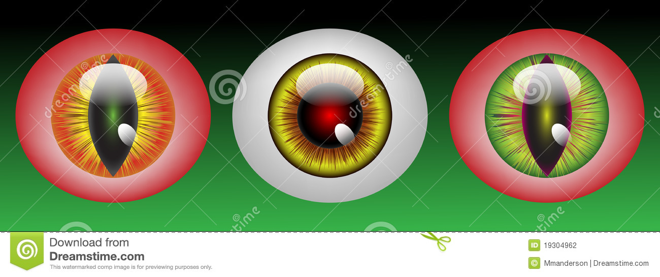 Glossy monster eyeballs in three colors on green background.