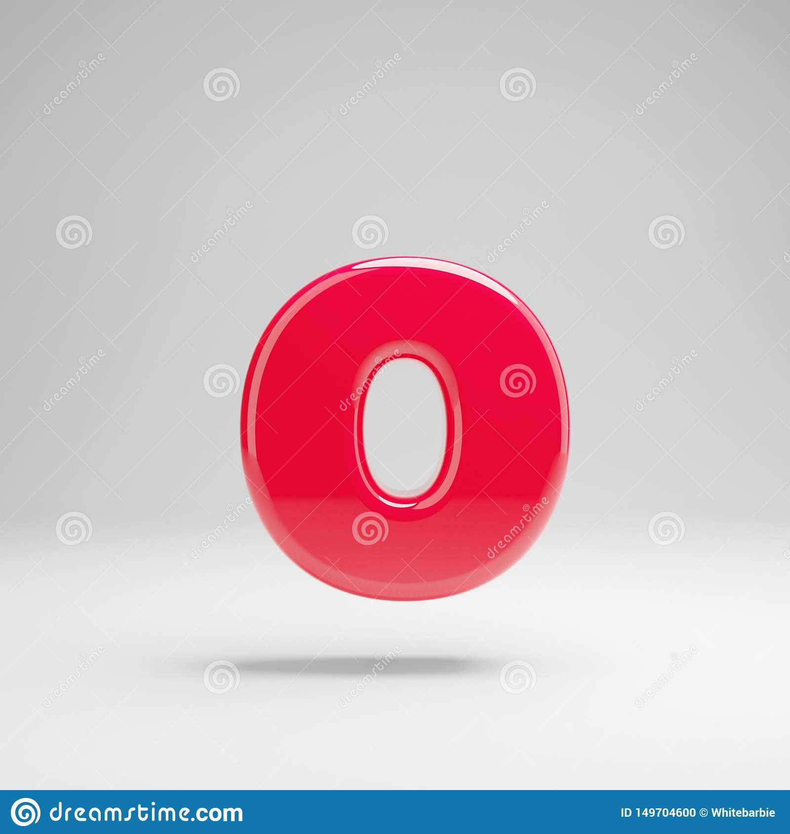 Glossy neon pink lowercase letter O isolated on white background
