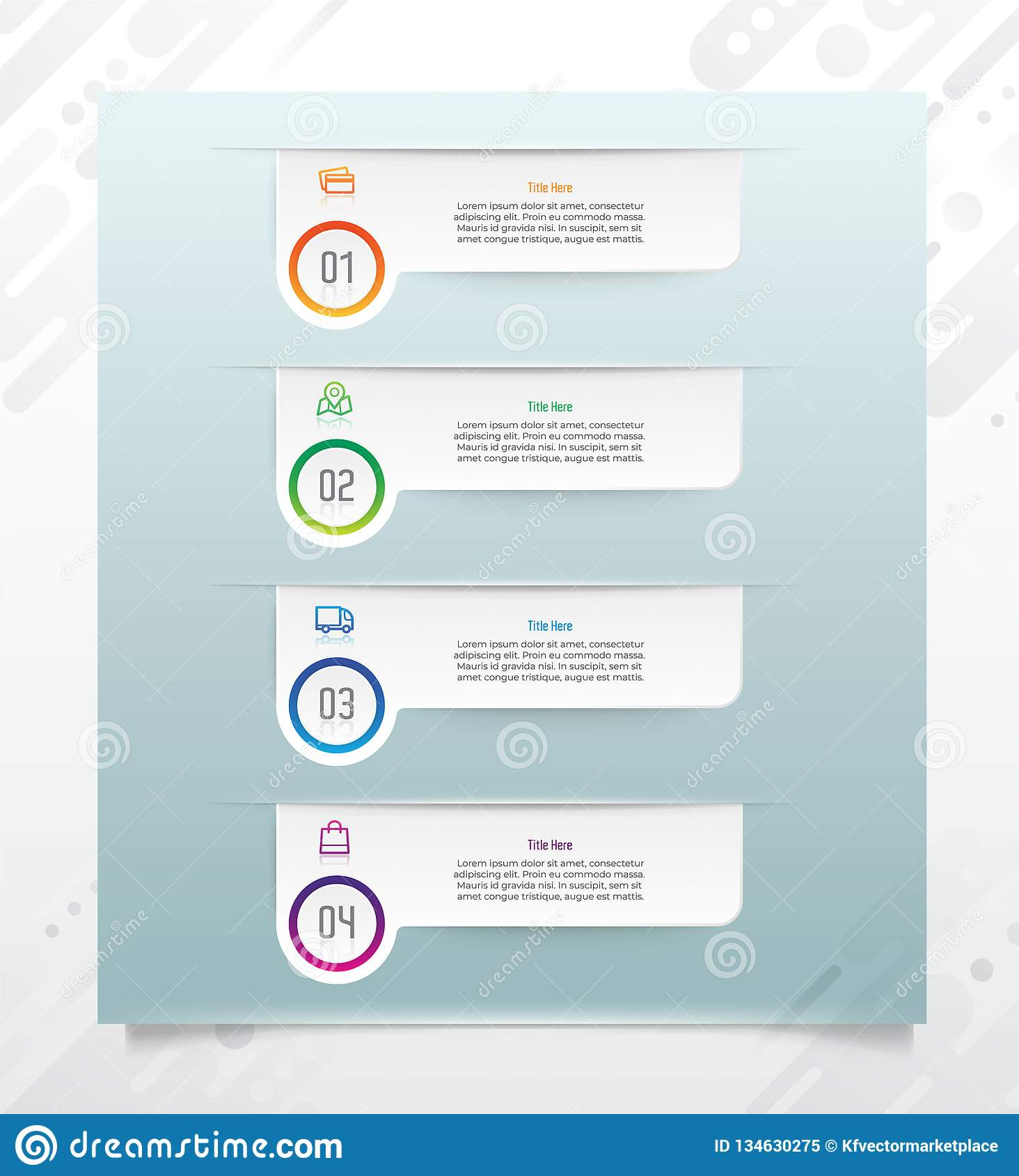 Glossy Option Step Square Infographic Vector Design With