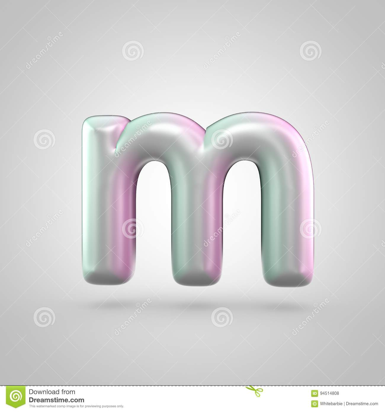 glossy perl letter m uppercase on white background