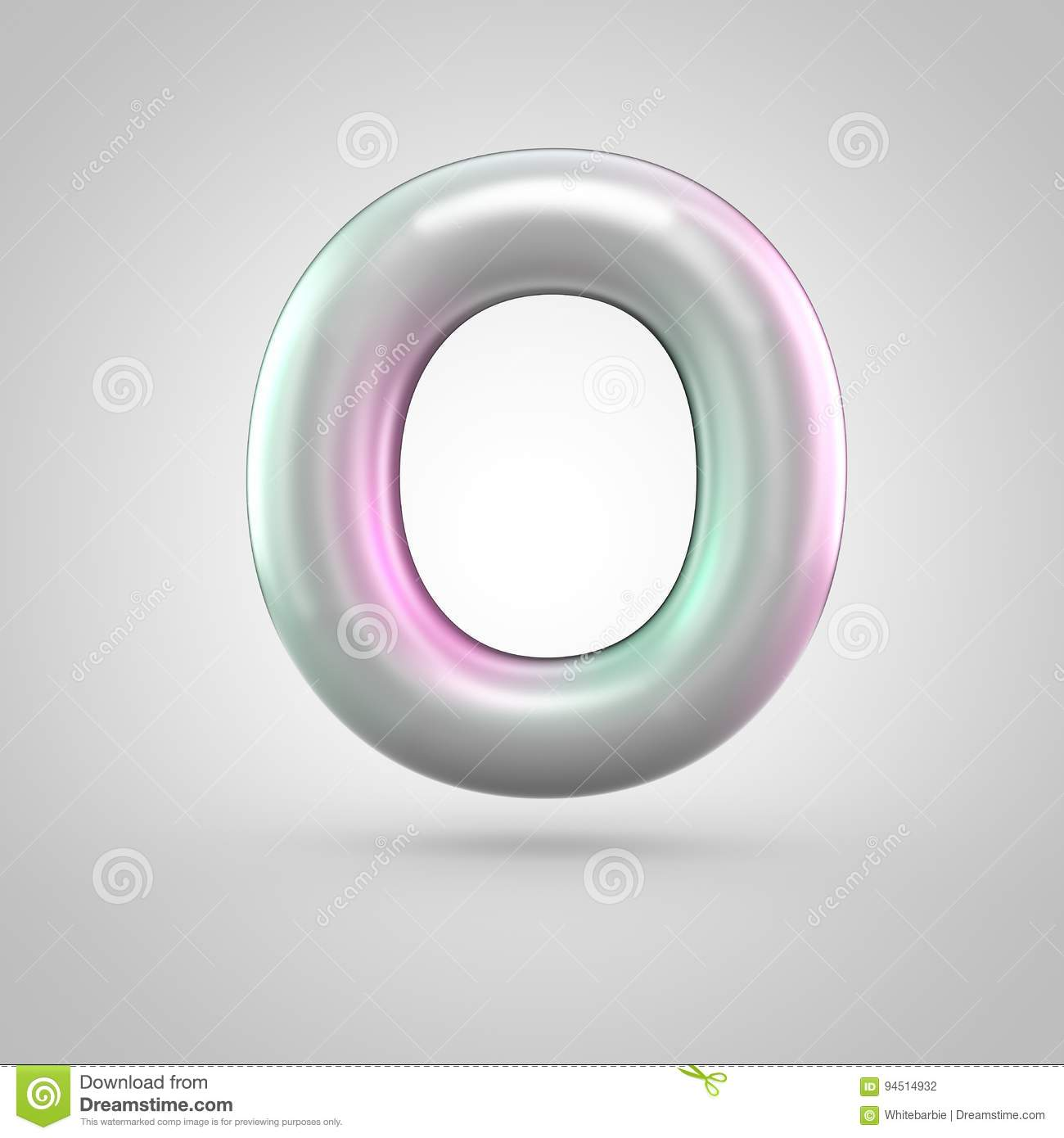 Glossy Perl Letter O Uppercase On White Background Stock