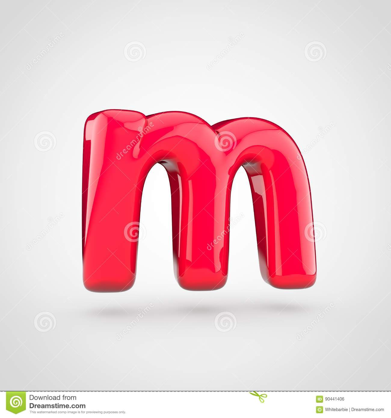 glossy pink paint letter m lowercase
