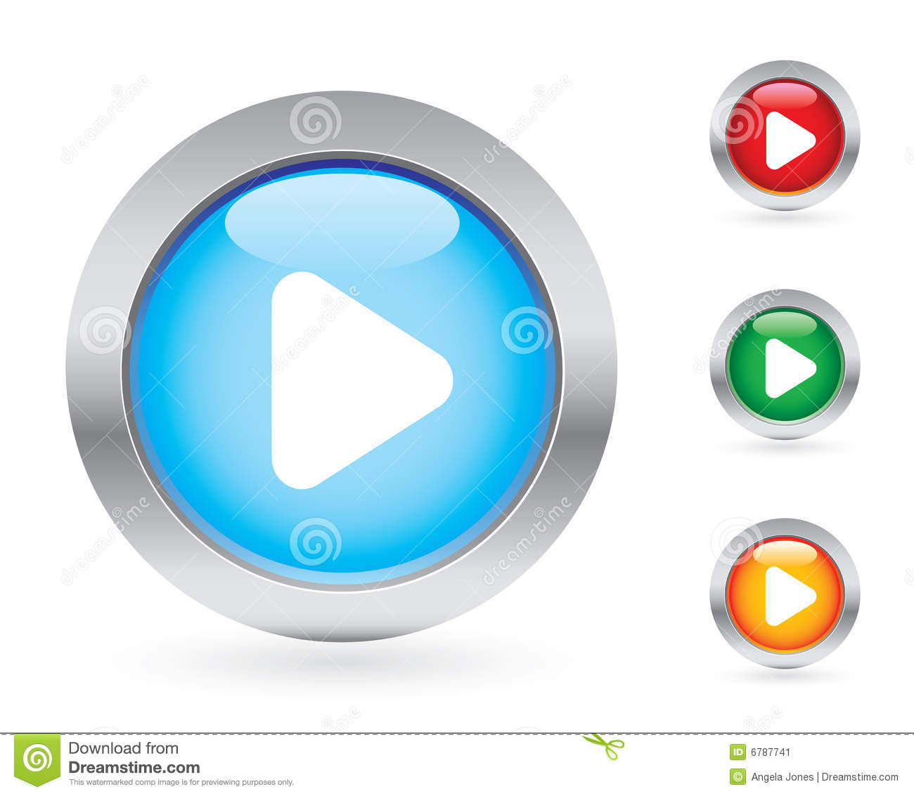 Glossy play button set