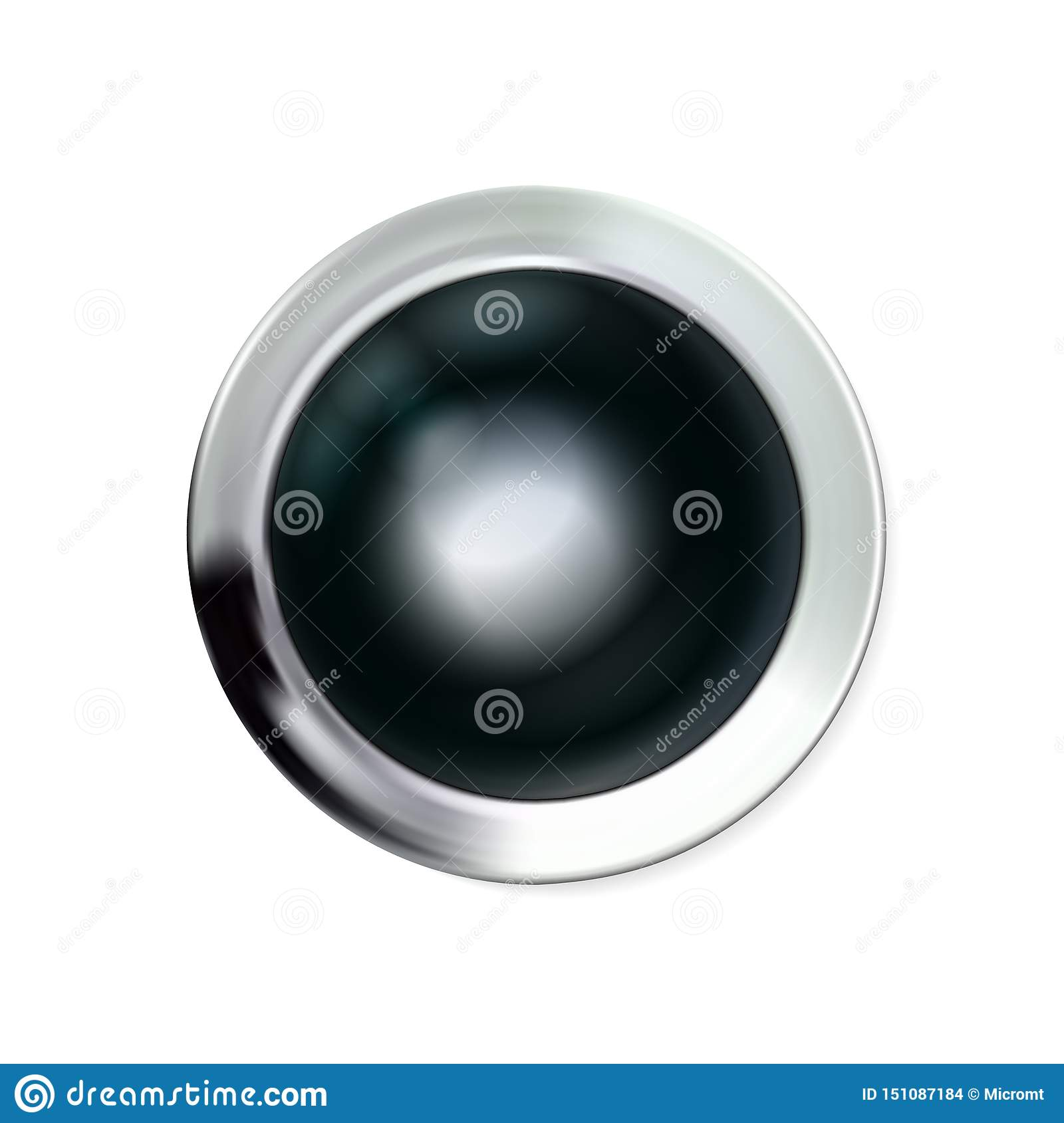 Glossy realistic chrome black button silvery. Circle geometric icon technology with shadows, stainless steel for logo, design