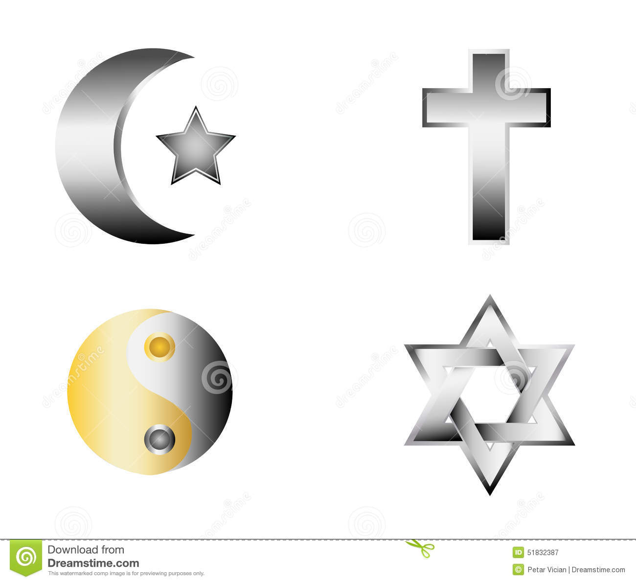 Glossy religion icons vector