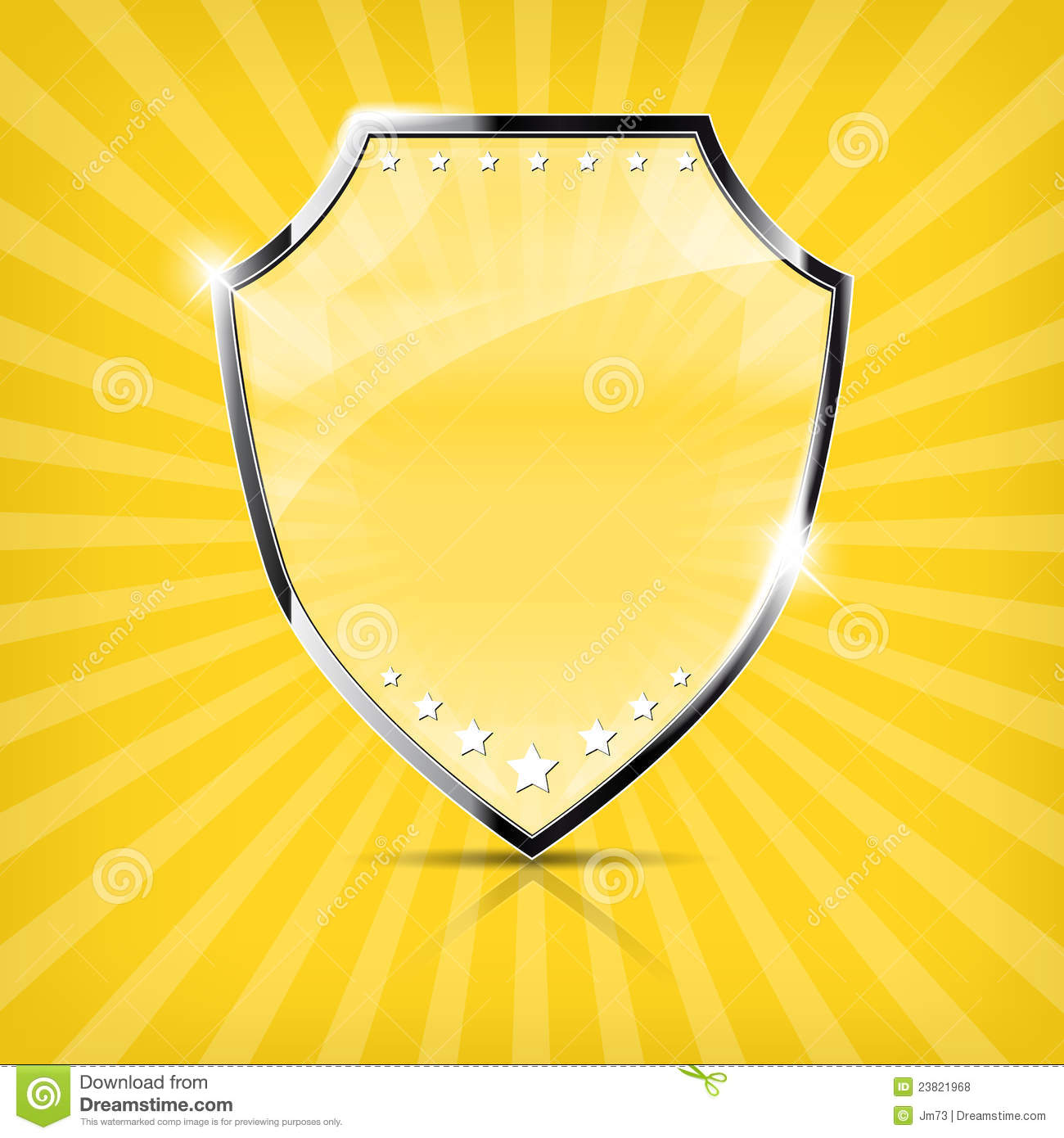 glossy security shield on yellow background royalty free