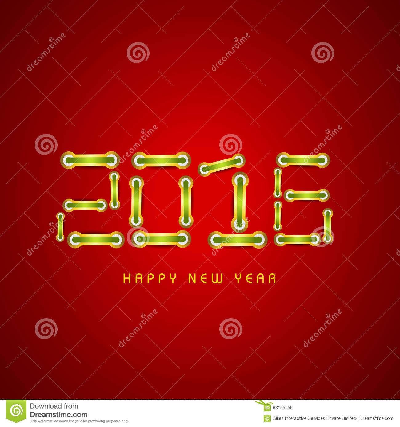 Glossy stylish text for Happy New Year 2016.