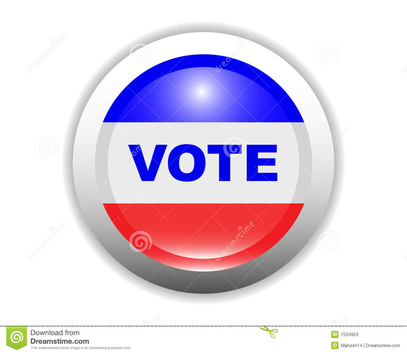 Glossy Vote Button Stock Photos - Image: 7534953