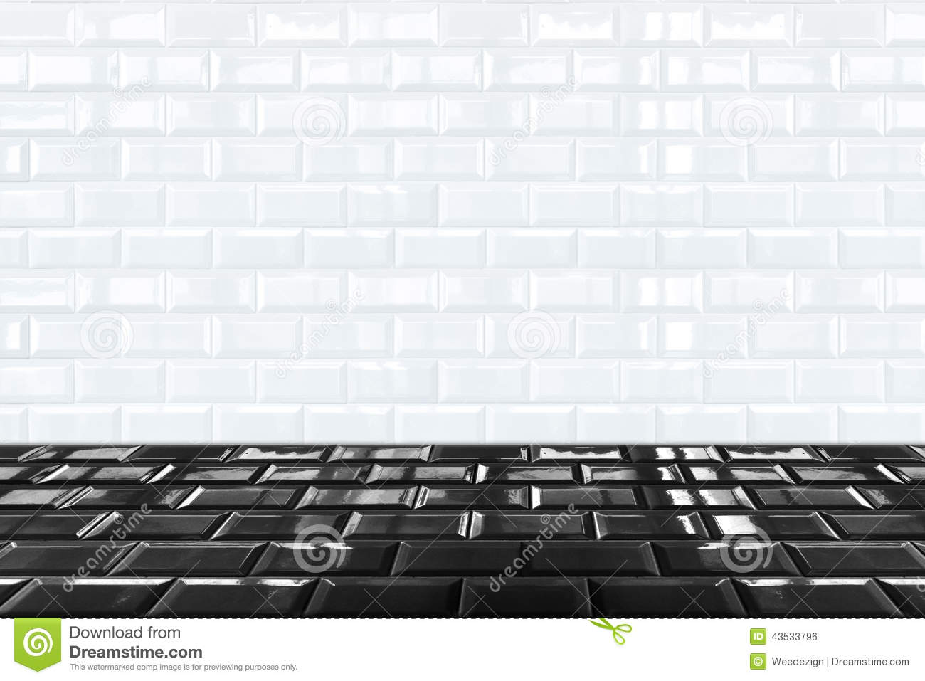 Glossy White Ceramic Brick Tile Wall And Black Tile Floor Stock Photo