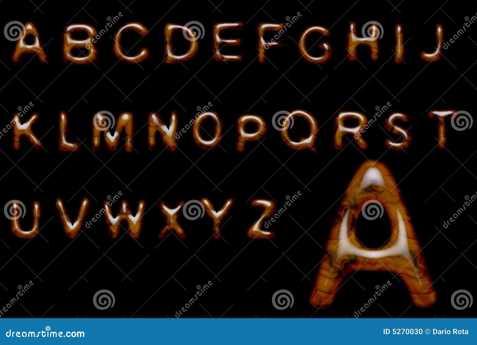 Glossy wood alphabet