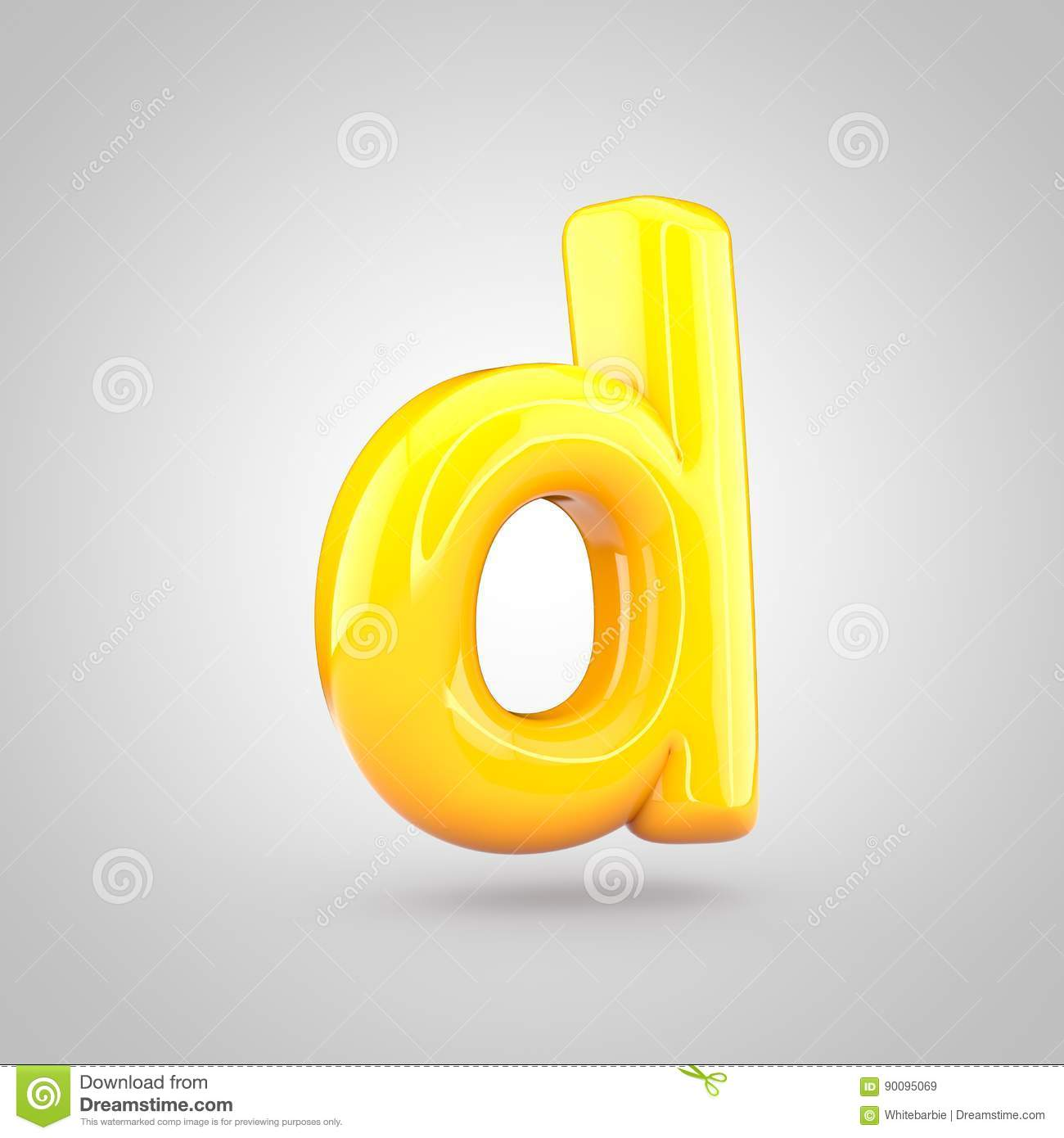 Glossy Yellow Paint Letter D Lowercase Stock Illustration