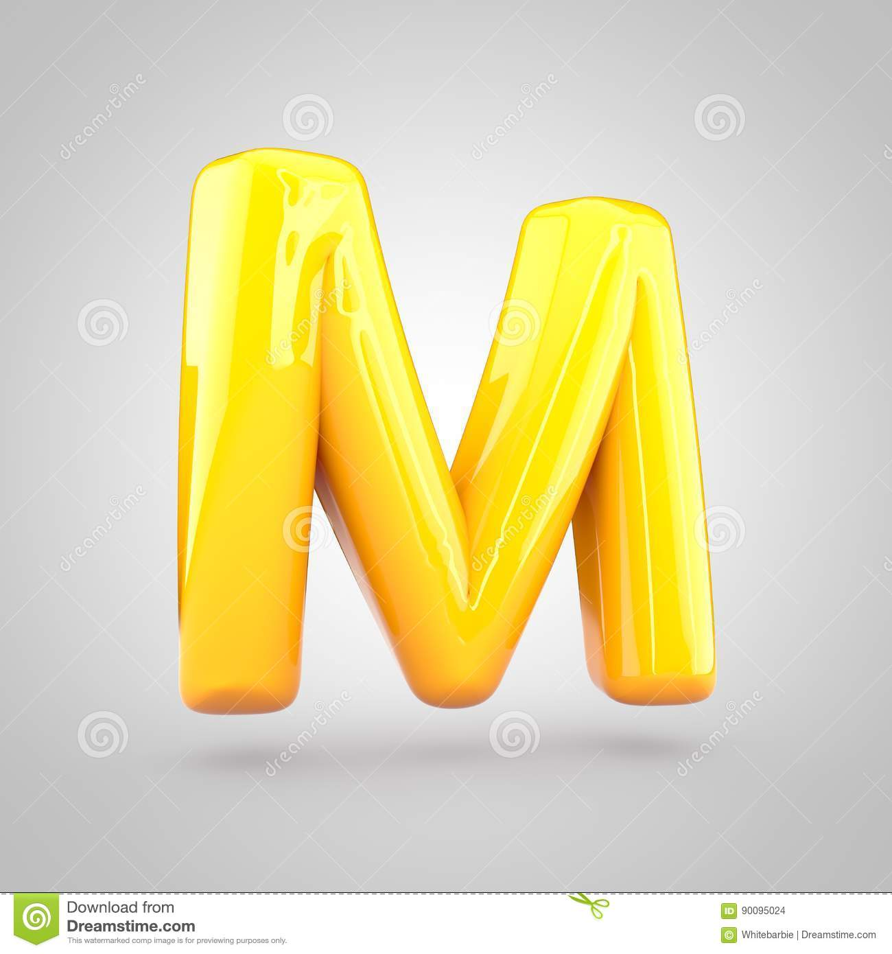 Glossy Yellow Paint Letter M Uppercase Stock Illustration